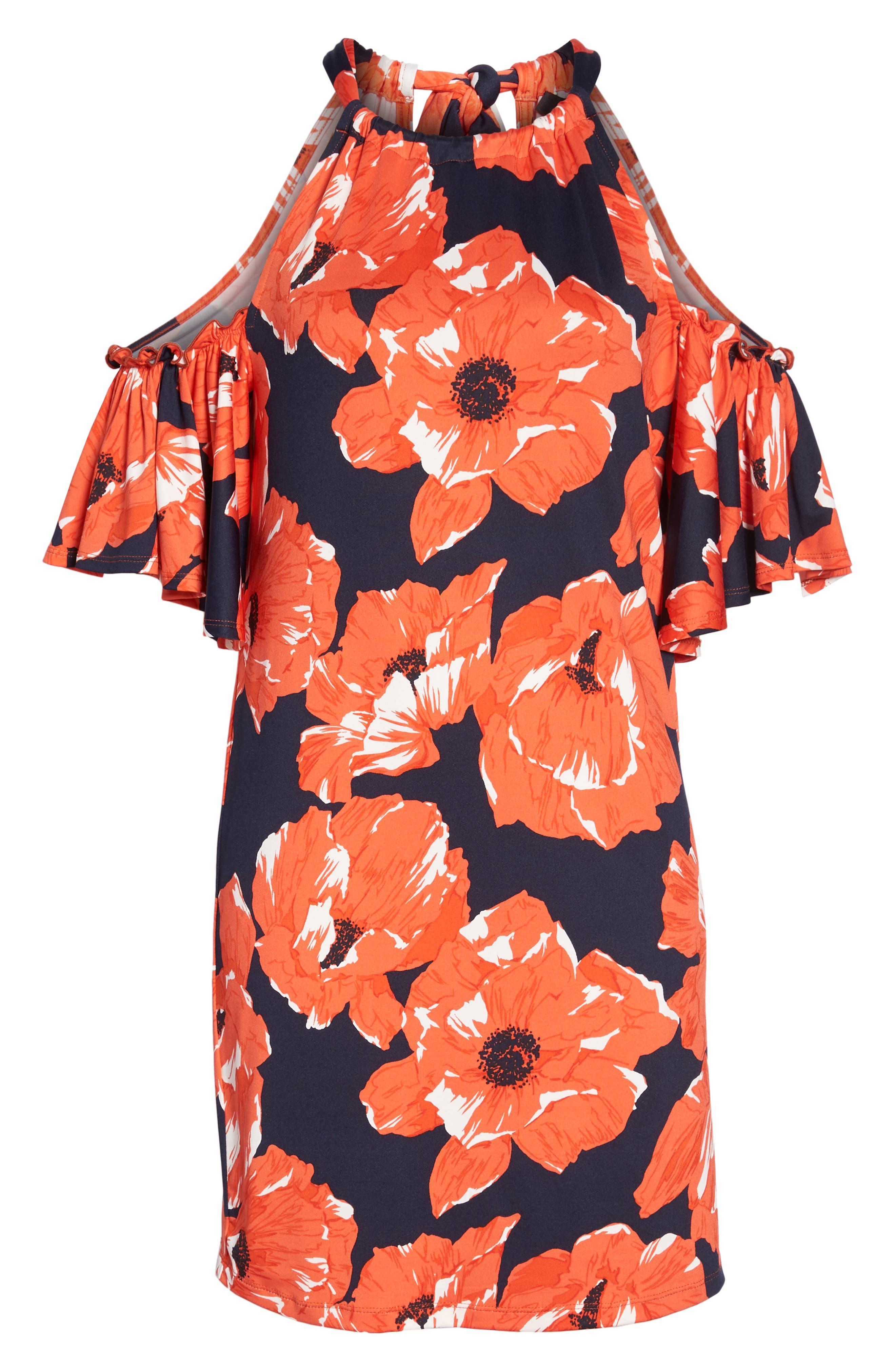 Lexi Poppy Cold Shoulder Shift Dress,                             Alternate thumbnail 7, color,                             Indigo/ Red Ginger