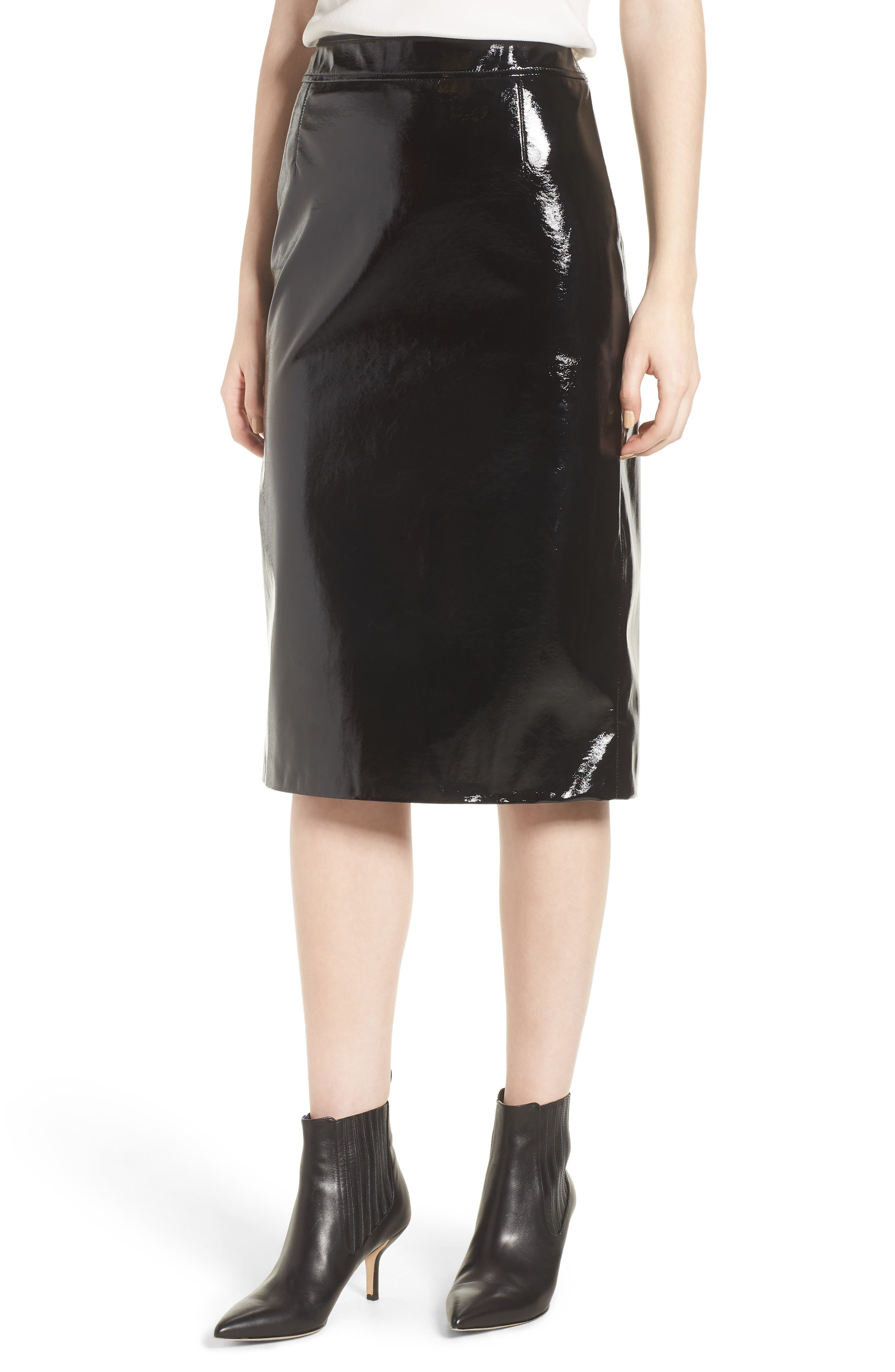 Patent Pencil Skirt,                         Main,                         color, Black