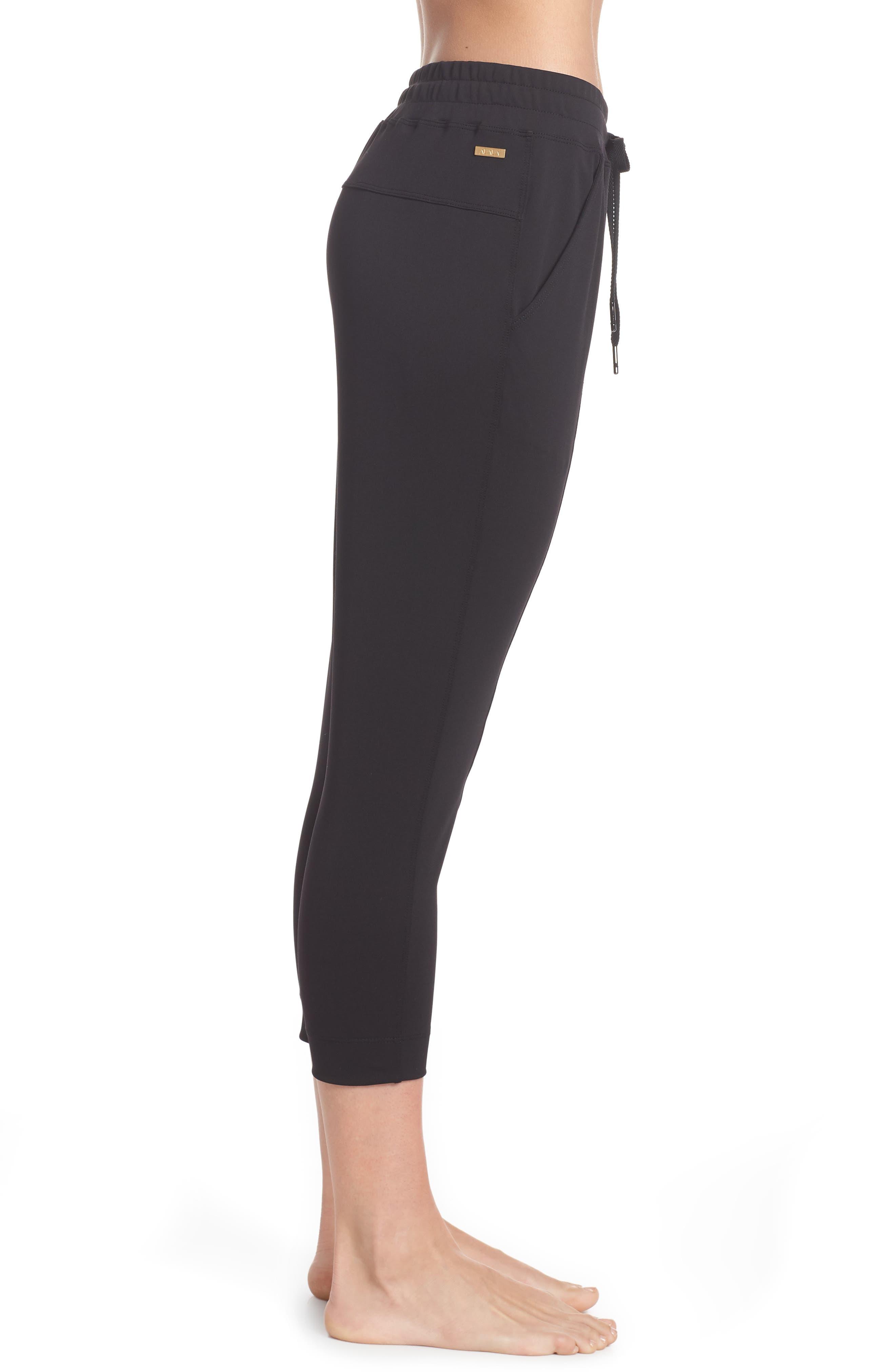 Mica Crop Track Pants,                             Alternate thumbnail 3, color,                             Black