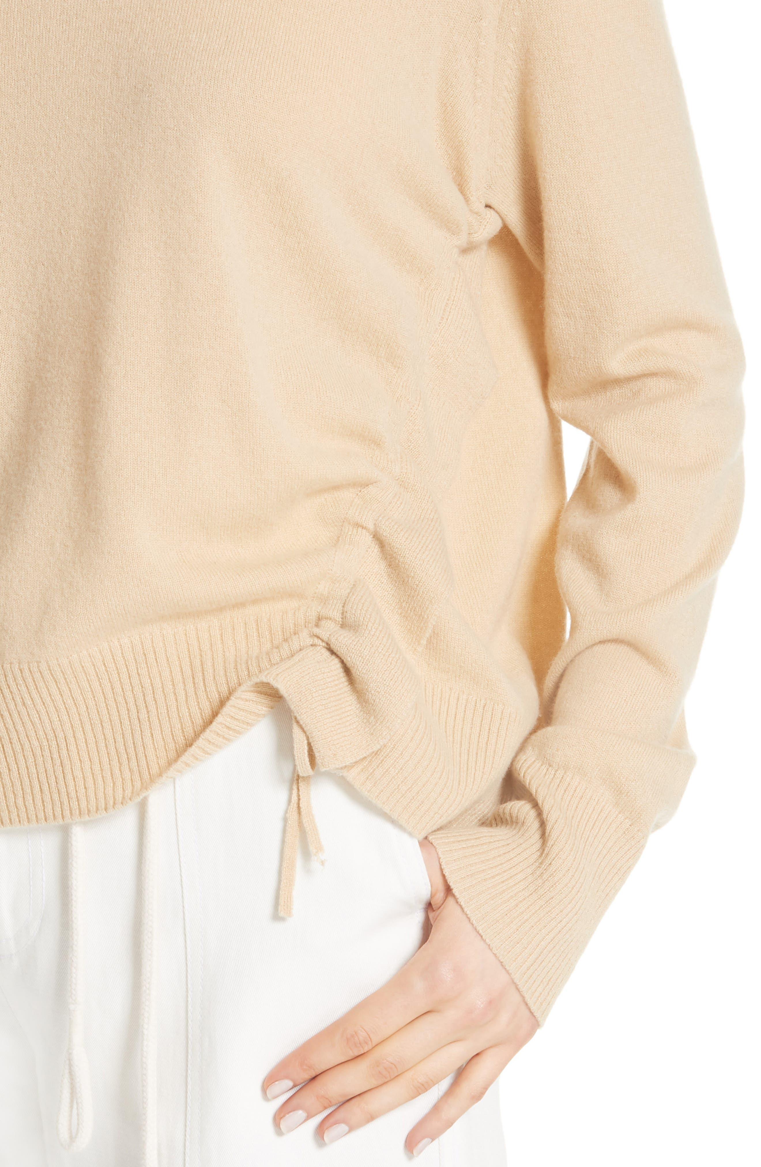 Side Cinch Cashmere Crewneck Sweater,                             Alternate thumbnail 4, color,                             Sawdust