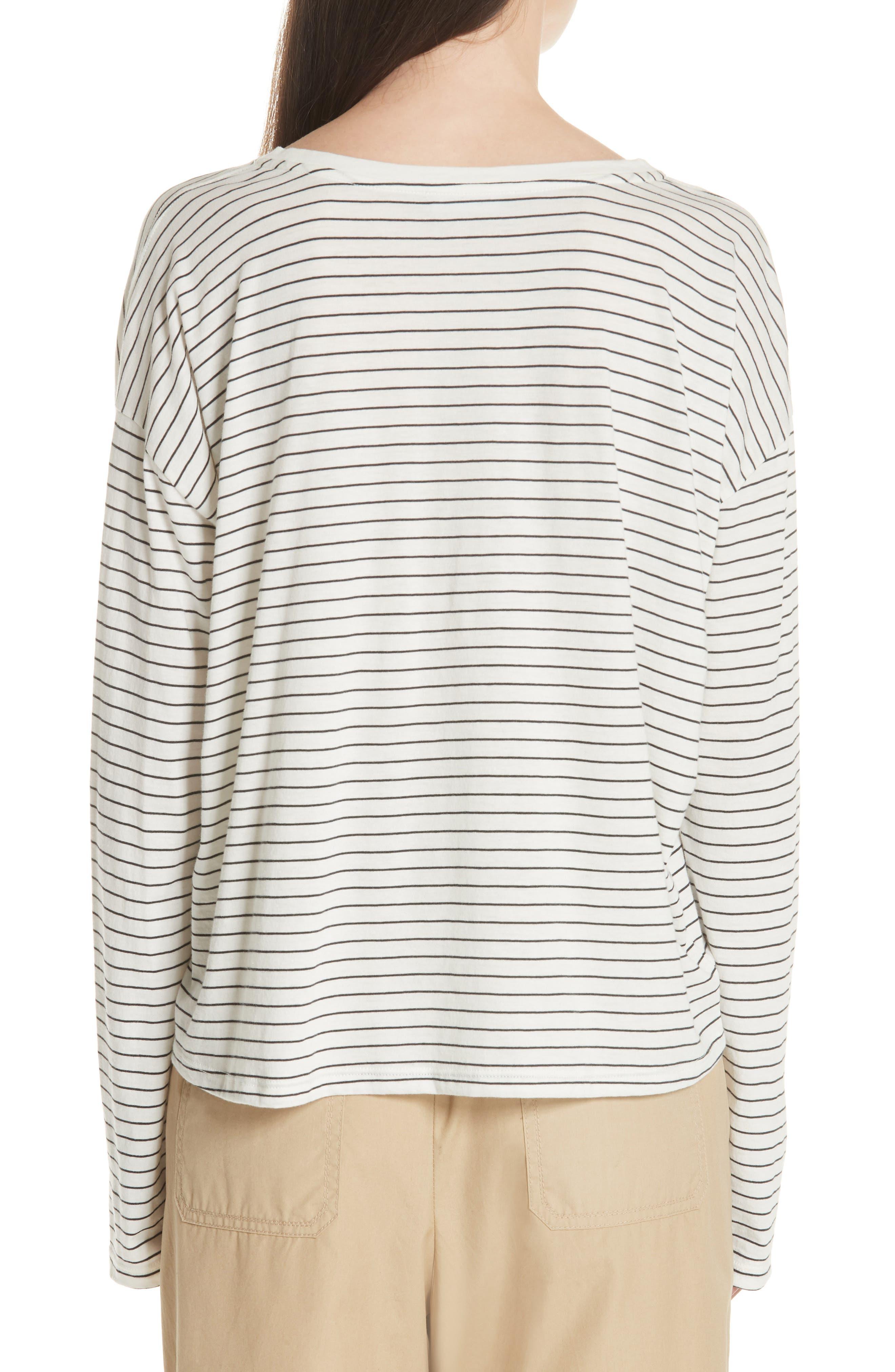 Pencil Stripe Pima Cotton Pullover Top,                             Alternate thumbnail 2, color,                             Vanilla/ Iron
