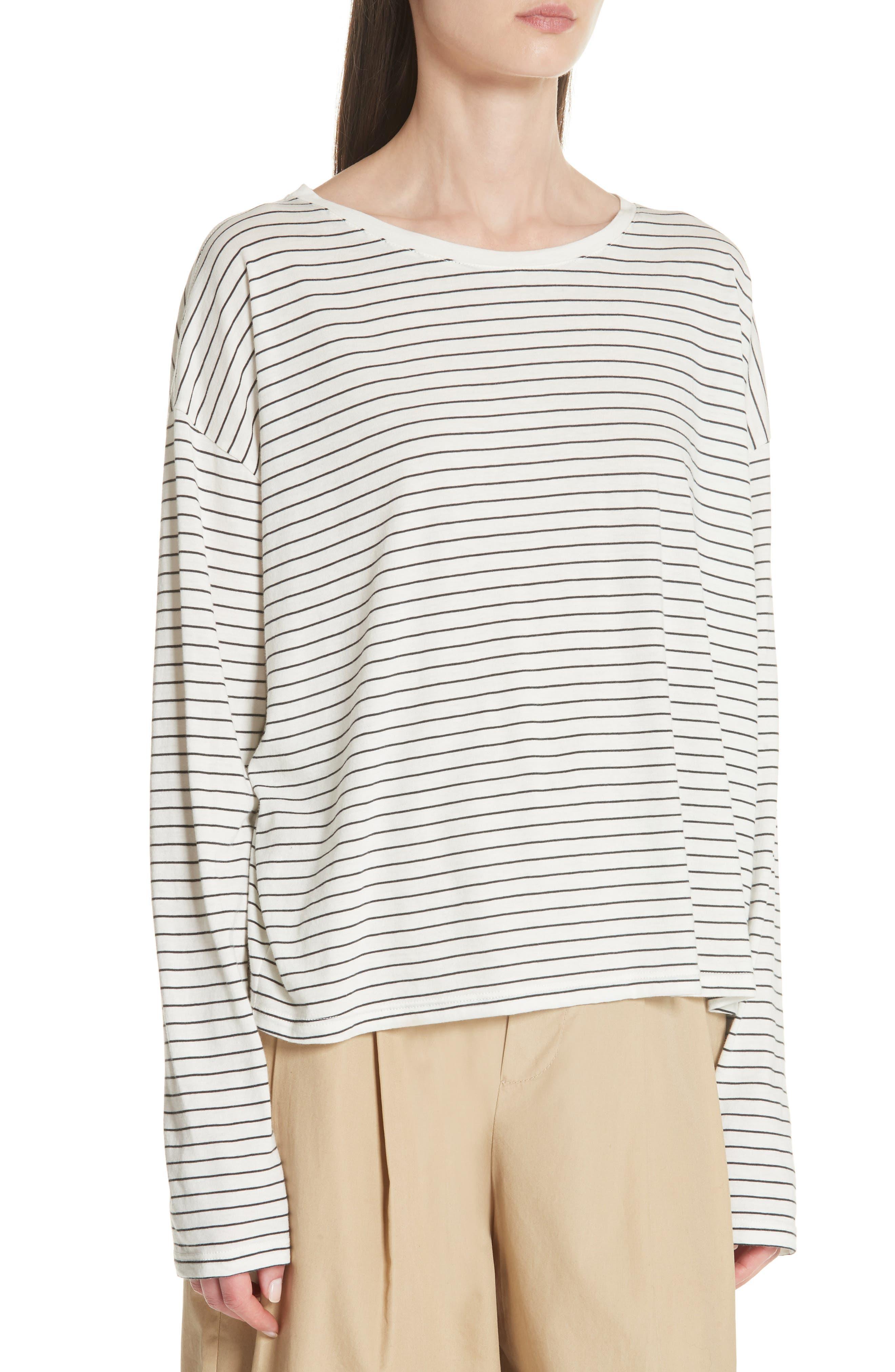 Pencil Stripe Pima Cotton Pullover Top,                             Alternate thumbnail 4, color,                             Vanilla/ Iron