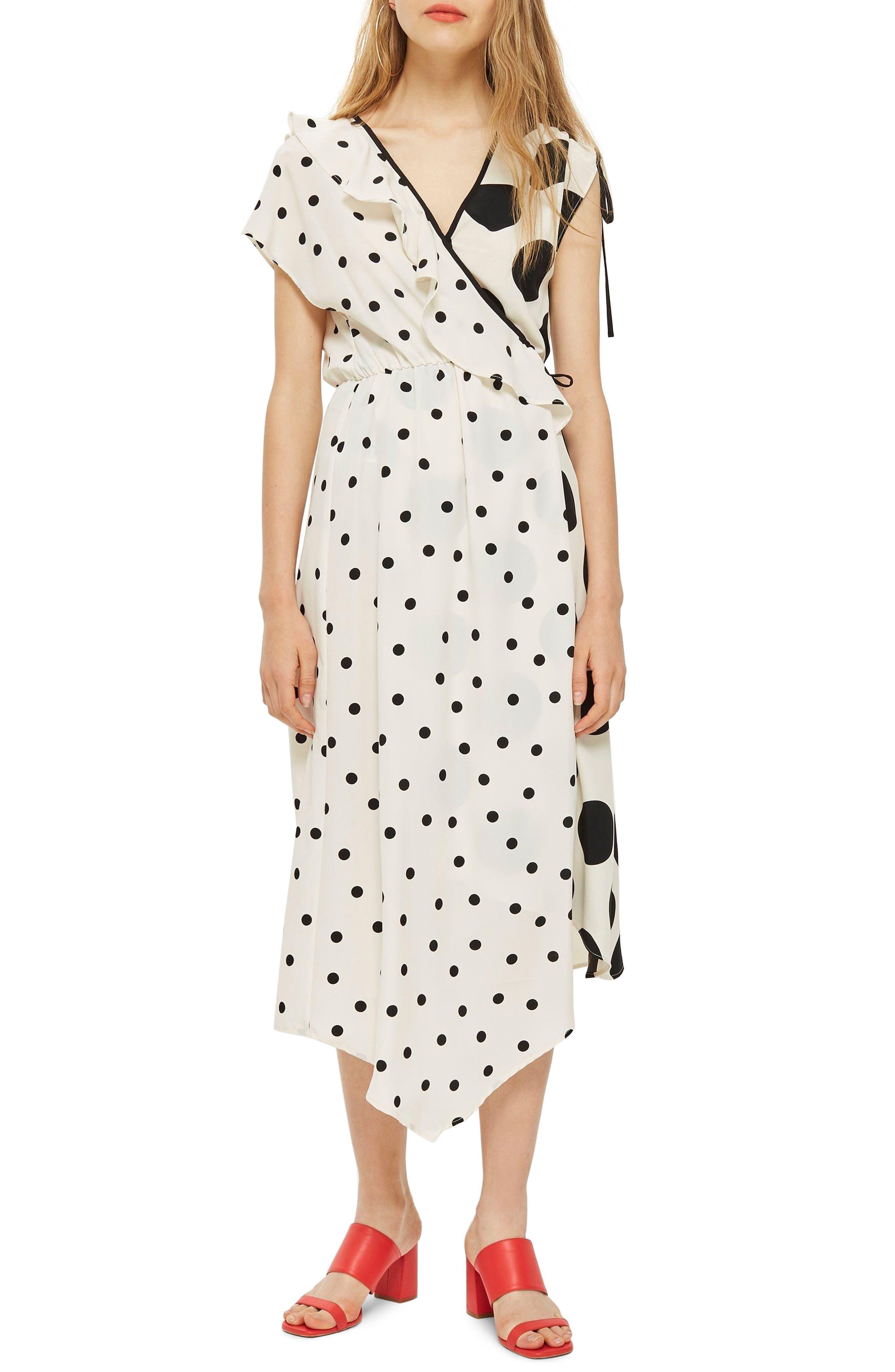 Mix Spot Midi Wrap Dress,                         Main,                         color, White Multi