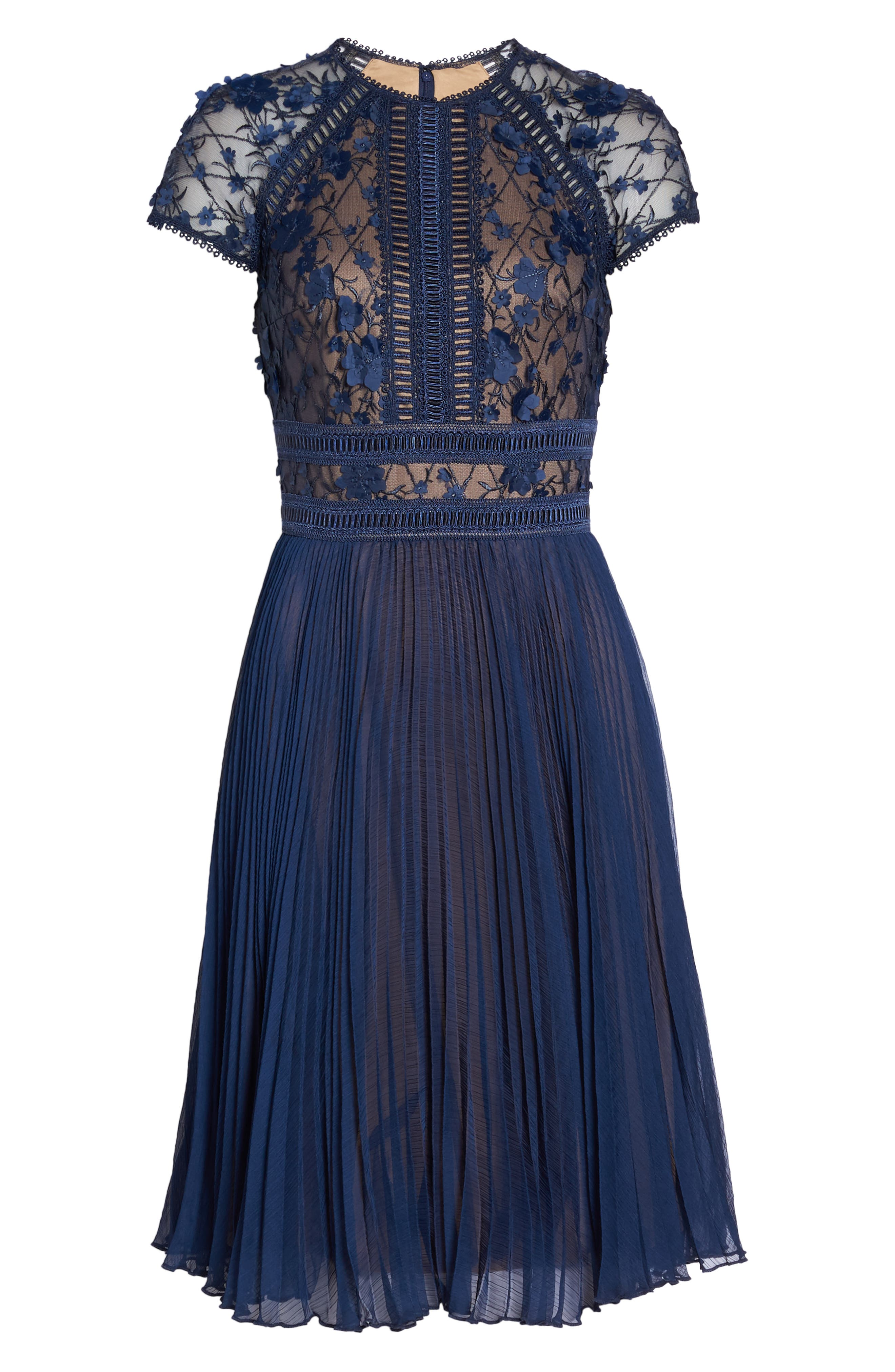 Embroidered Mesh & Chiffon Dress,                             Alternate thumbnail 6, color,                             Midnight/ Nude