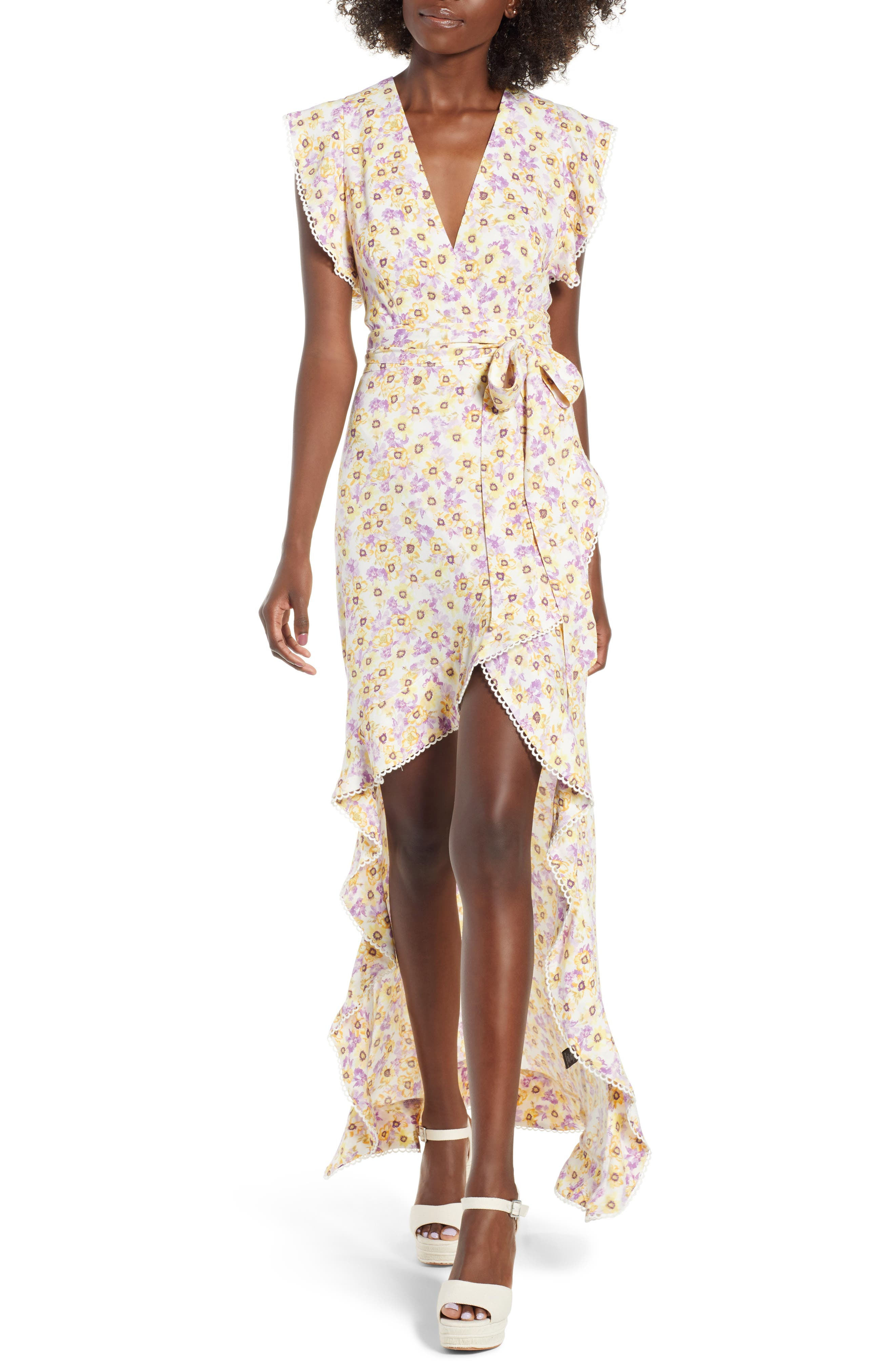 Andrea Ruffle Wrap Dress,                         Main,                         color, Yellow Garden
