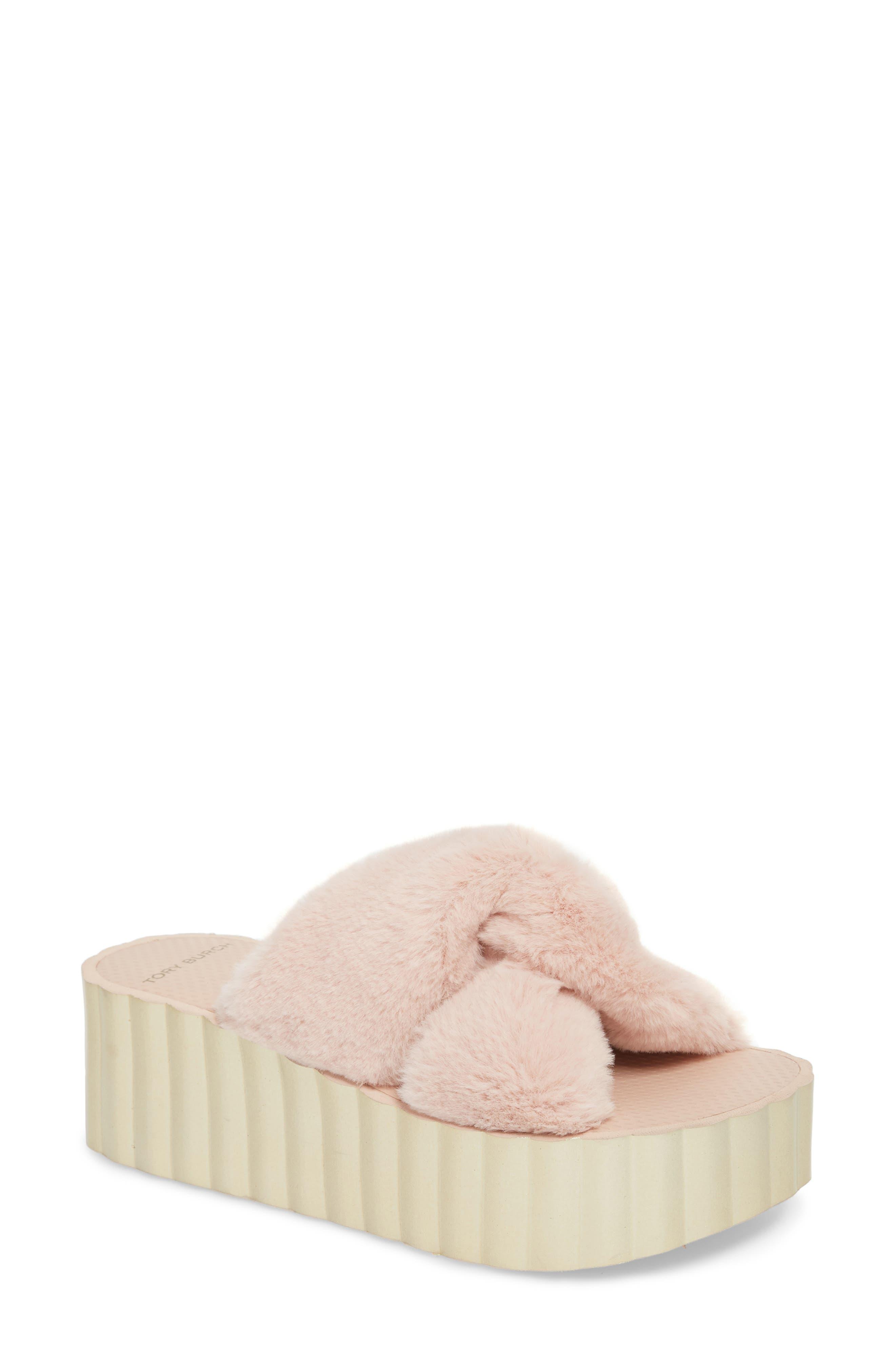 Faux Fur Scallop Platform Slide Sandal,                             Main thumbnail 1, color,                             Sea Shell Pink