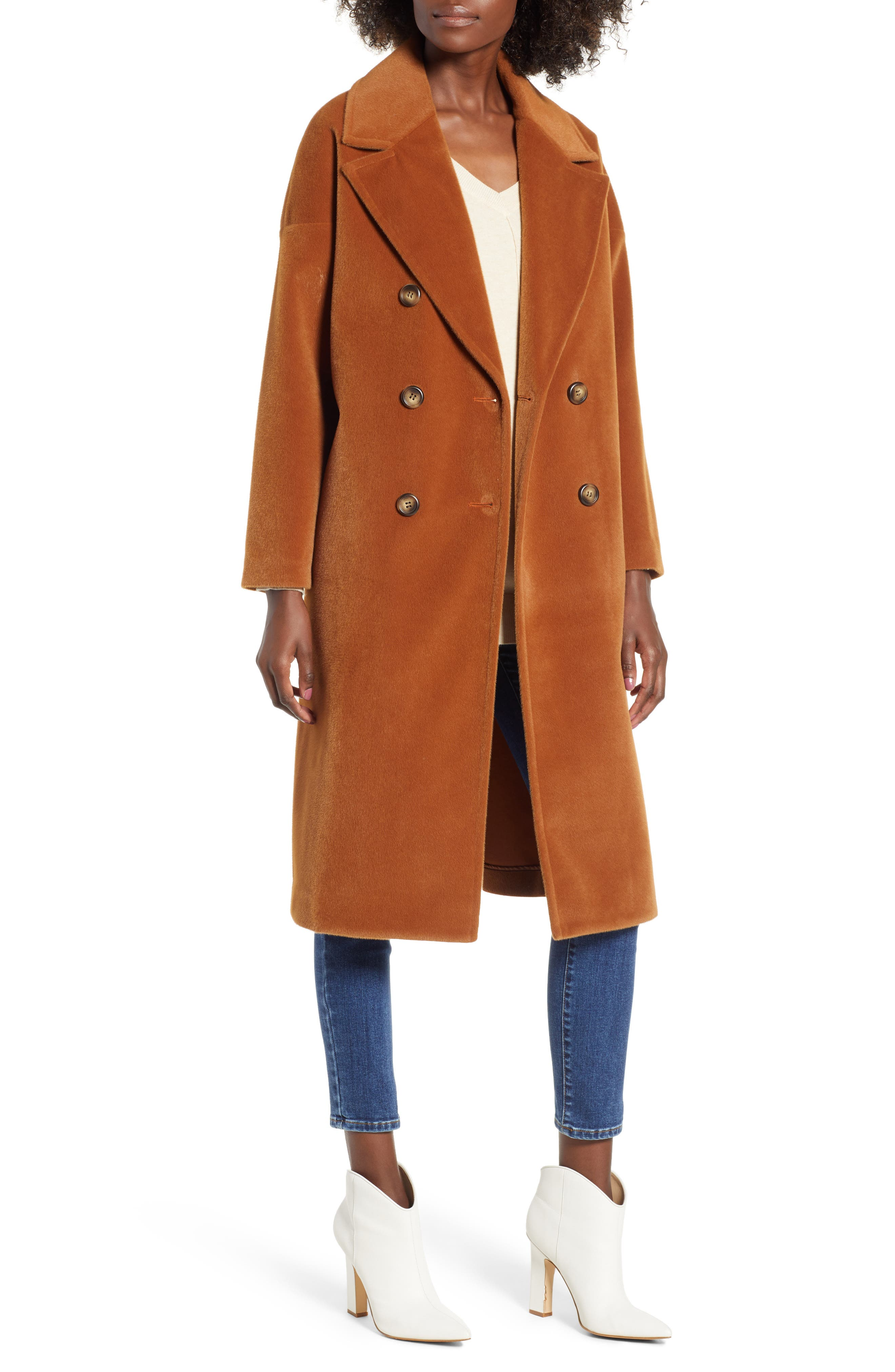 Oversize Midi Coat,                         Main,                         color, Burnt Camel