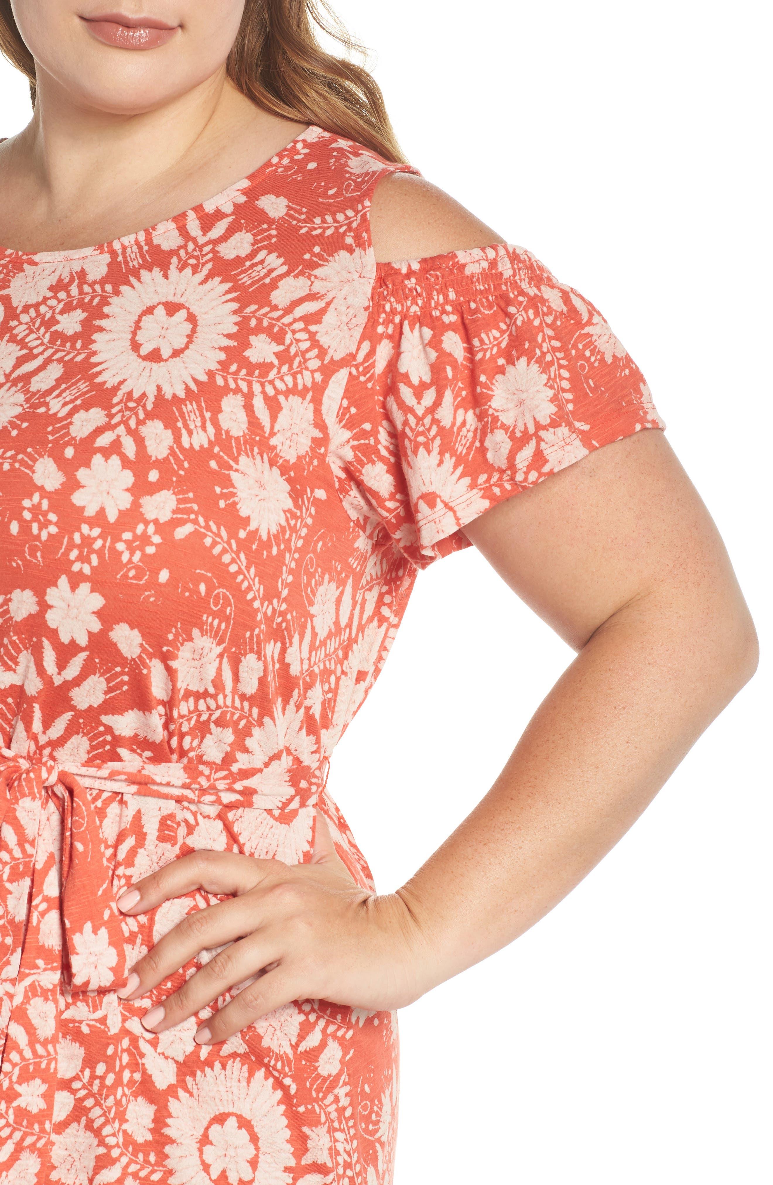 Cold Shoulder Print Belted Dress,                             Alternate thumbnail 4, color,                             Rust Multi
