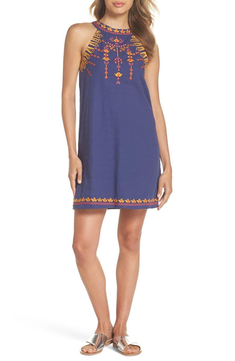 Embroidered Halter Shift Dress