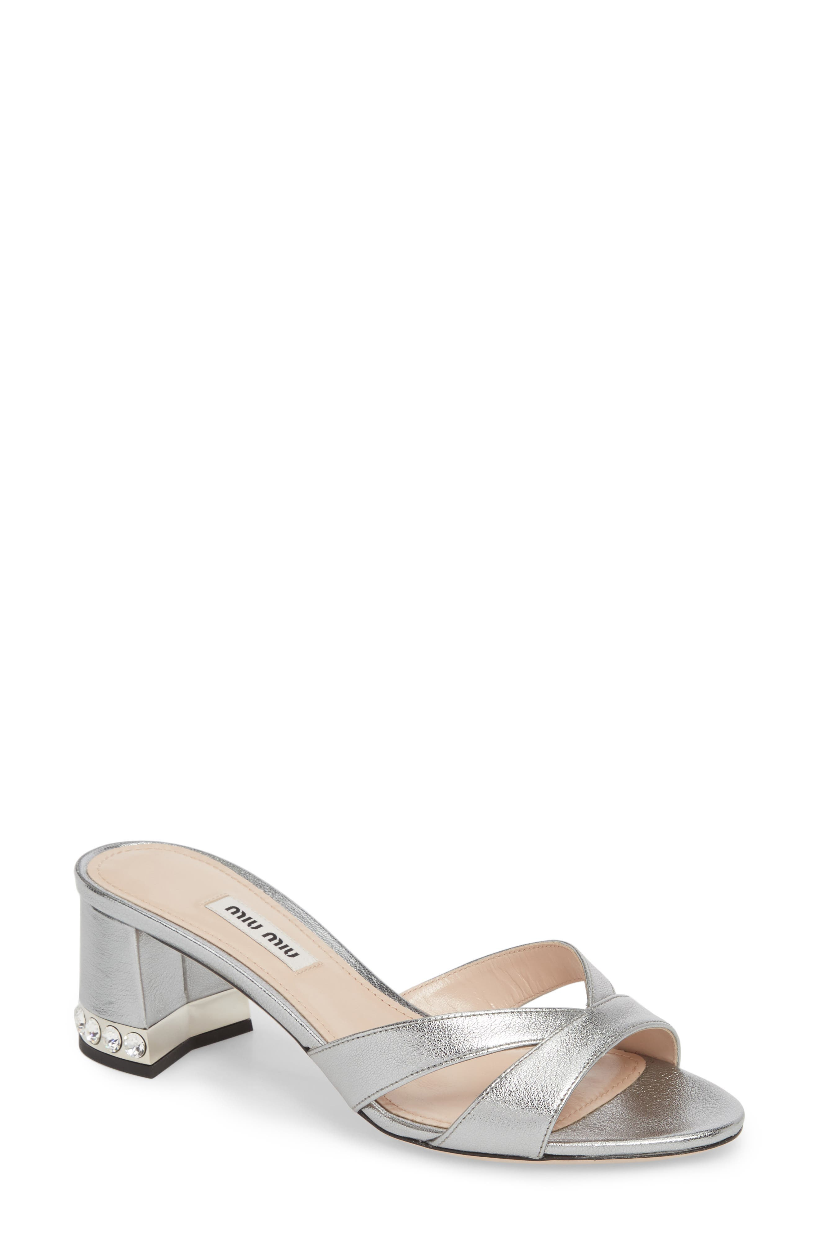 Miu Miu Crystal Embellished Sandal (Women)