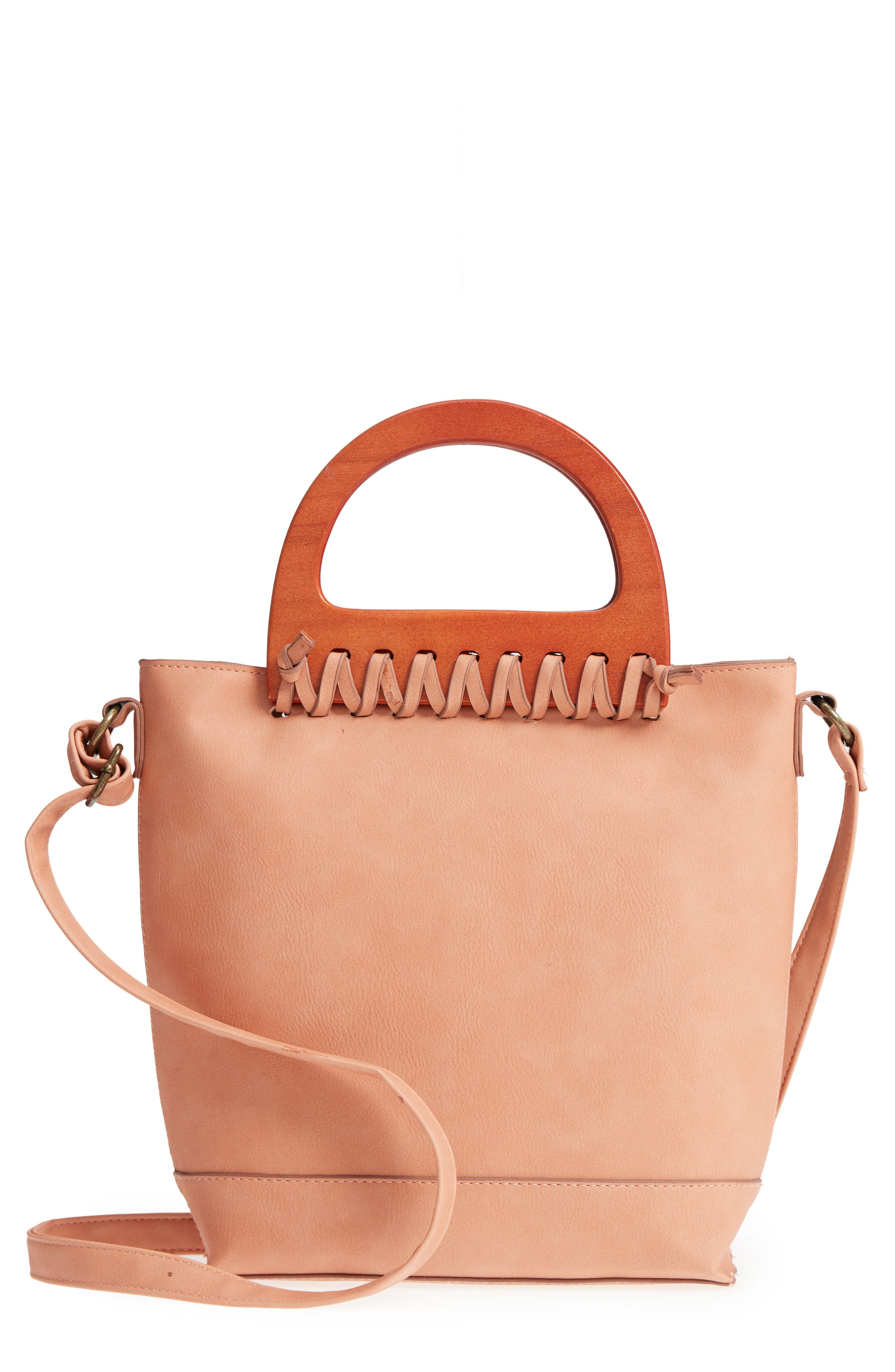 Wood Handle Stitched Tote,                         Main,                         color, Clay