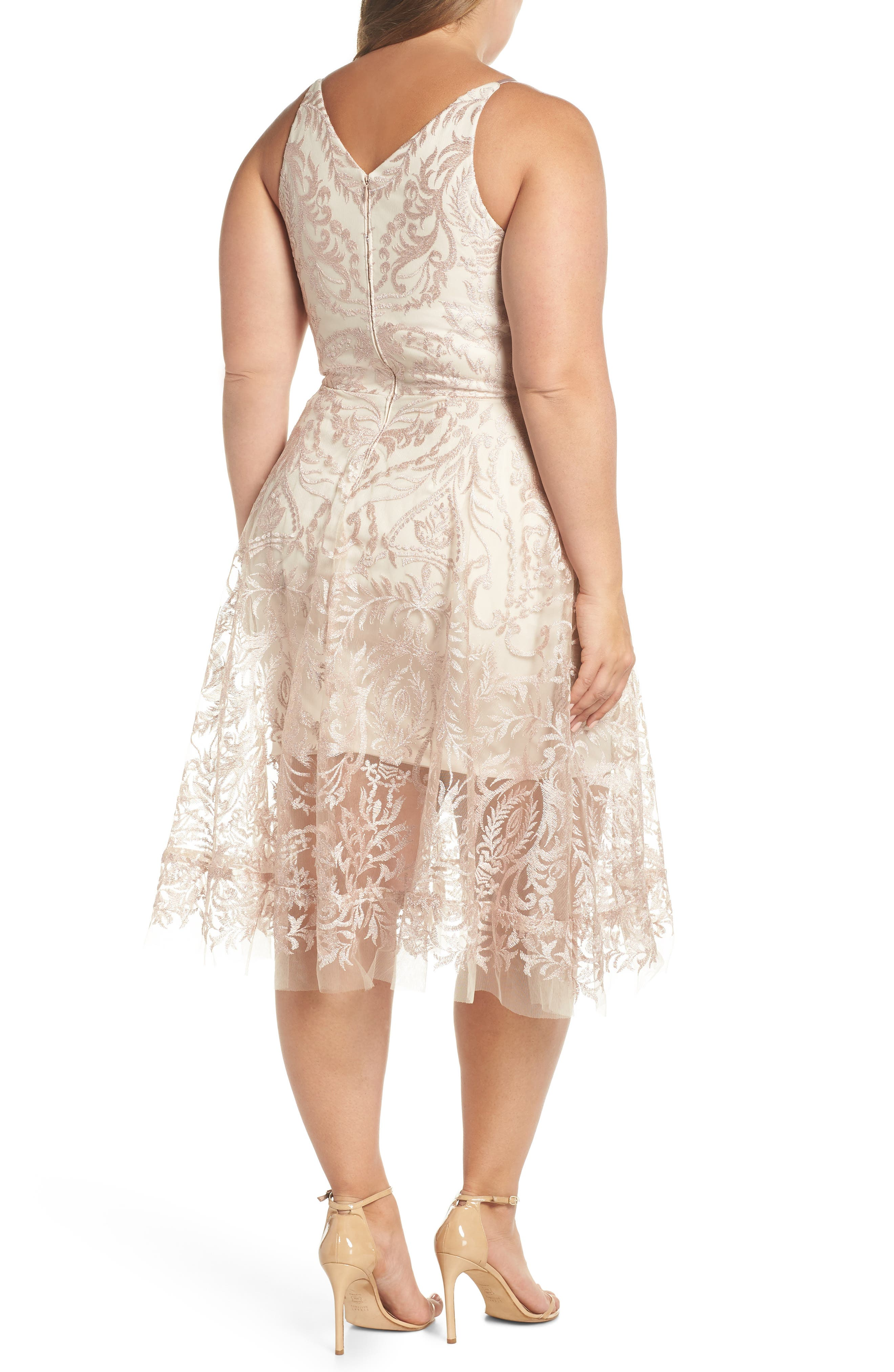 Embroidered Fit & Flare Dress,                             Alternate thumbnail 2, color,                             Blush