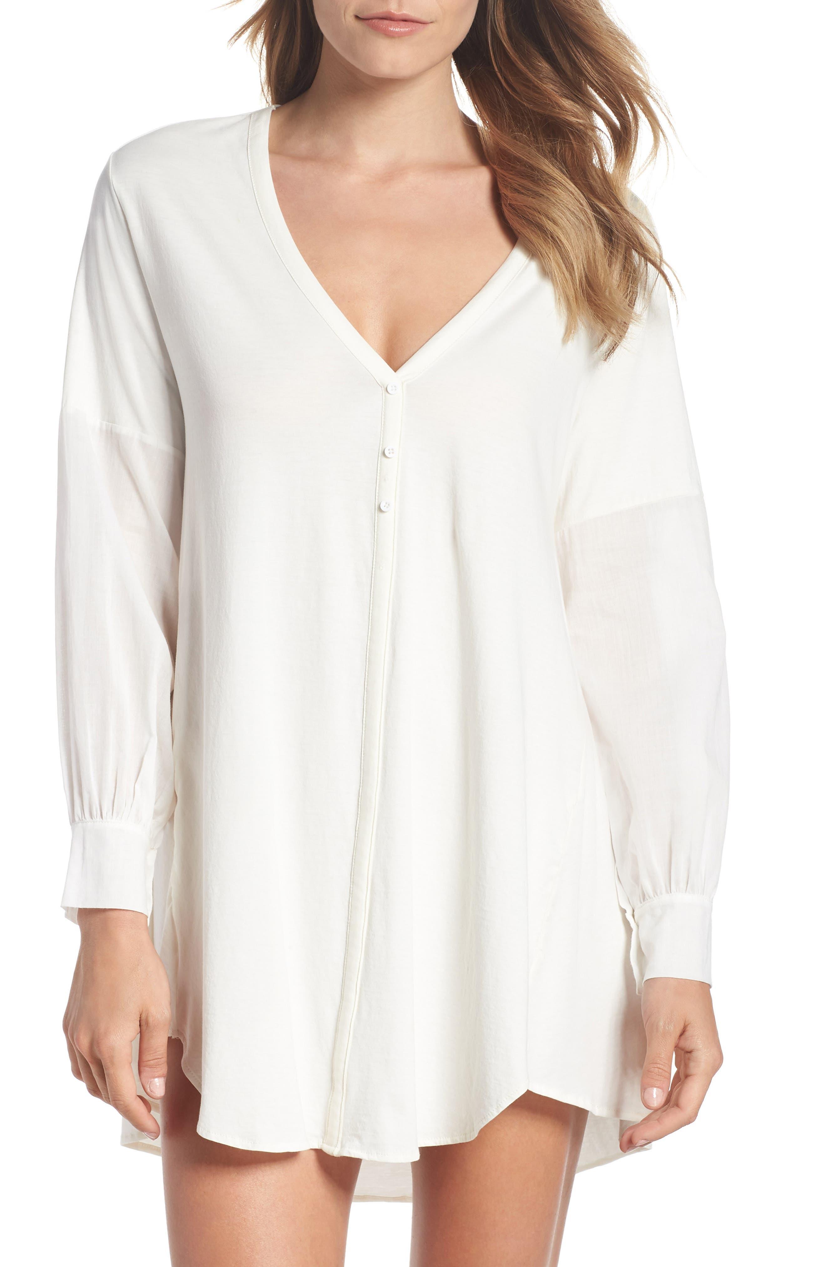 Blanche Pima Cotton Voile Sleep Shirt,                             Main thumbnail 1, color,                             Gardenia
