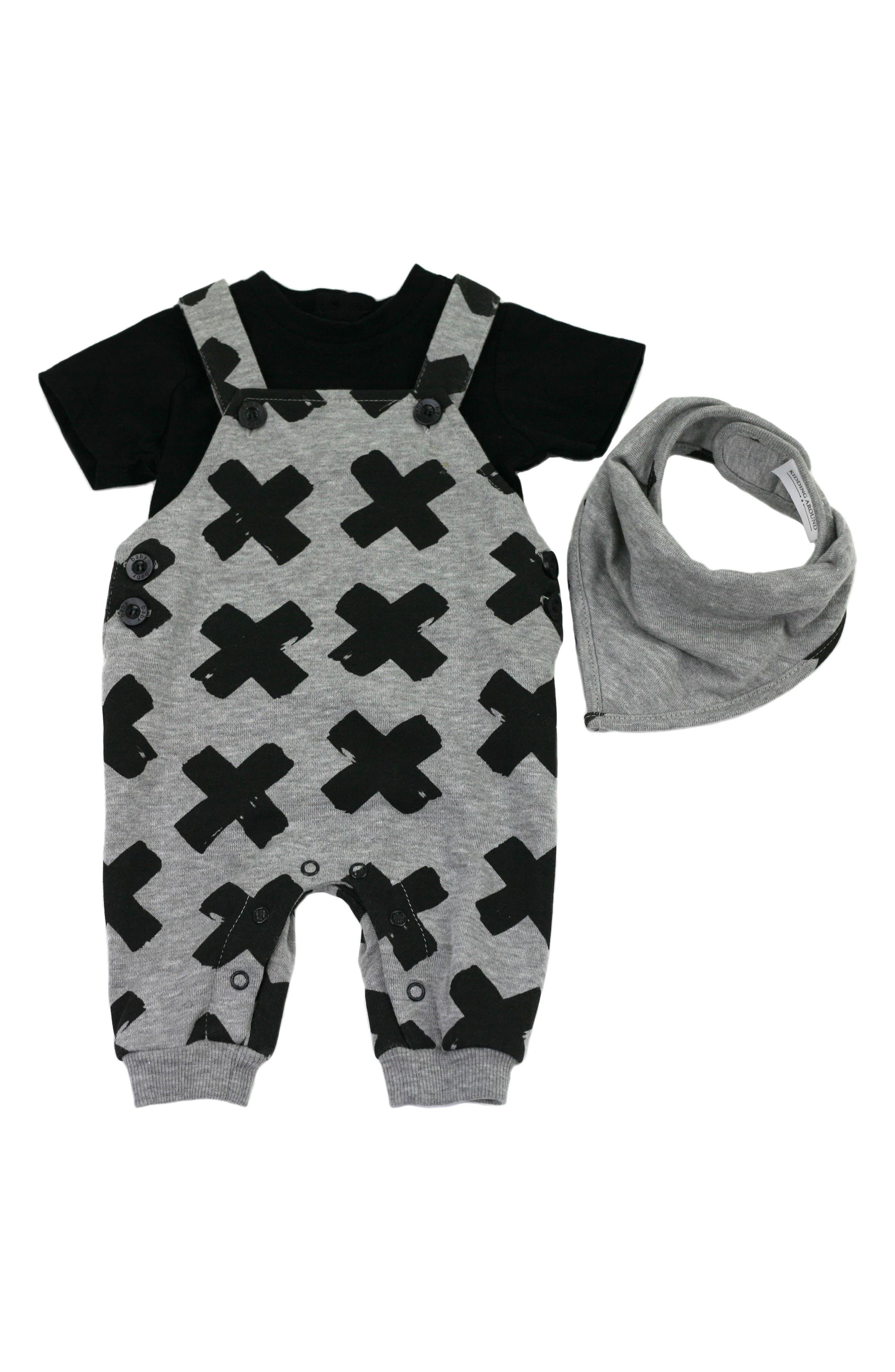 Alternate Image 1 Selected - Kidding Around T-Shirt & Overalls Set (Baby)