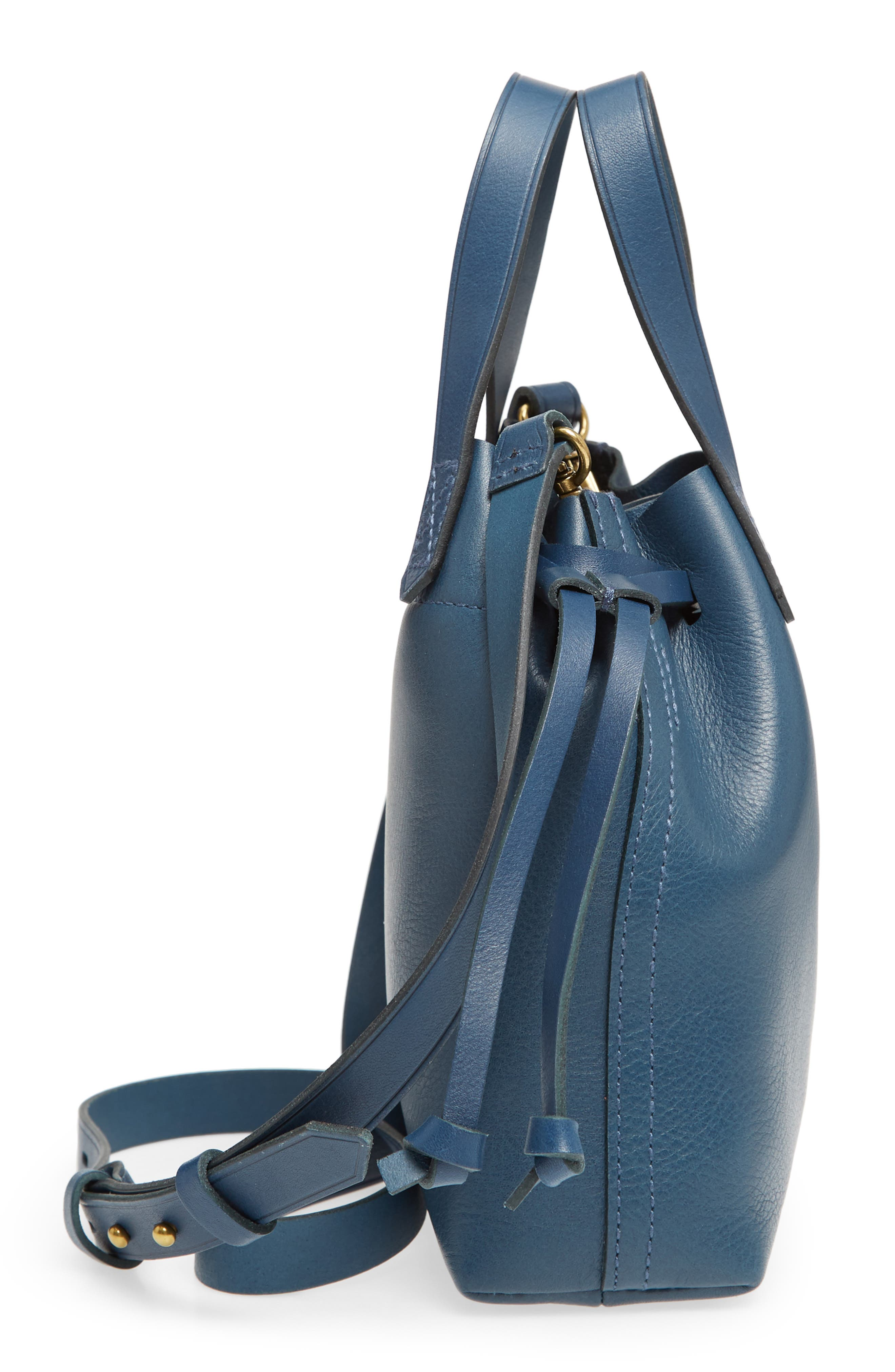 The Mini Pocket Transport Leather Drawstring Tote,                             Alternate thumbnail 5, color,                             Blue Hematite