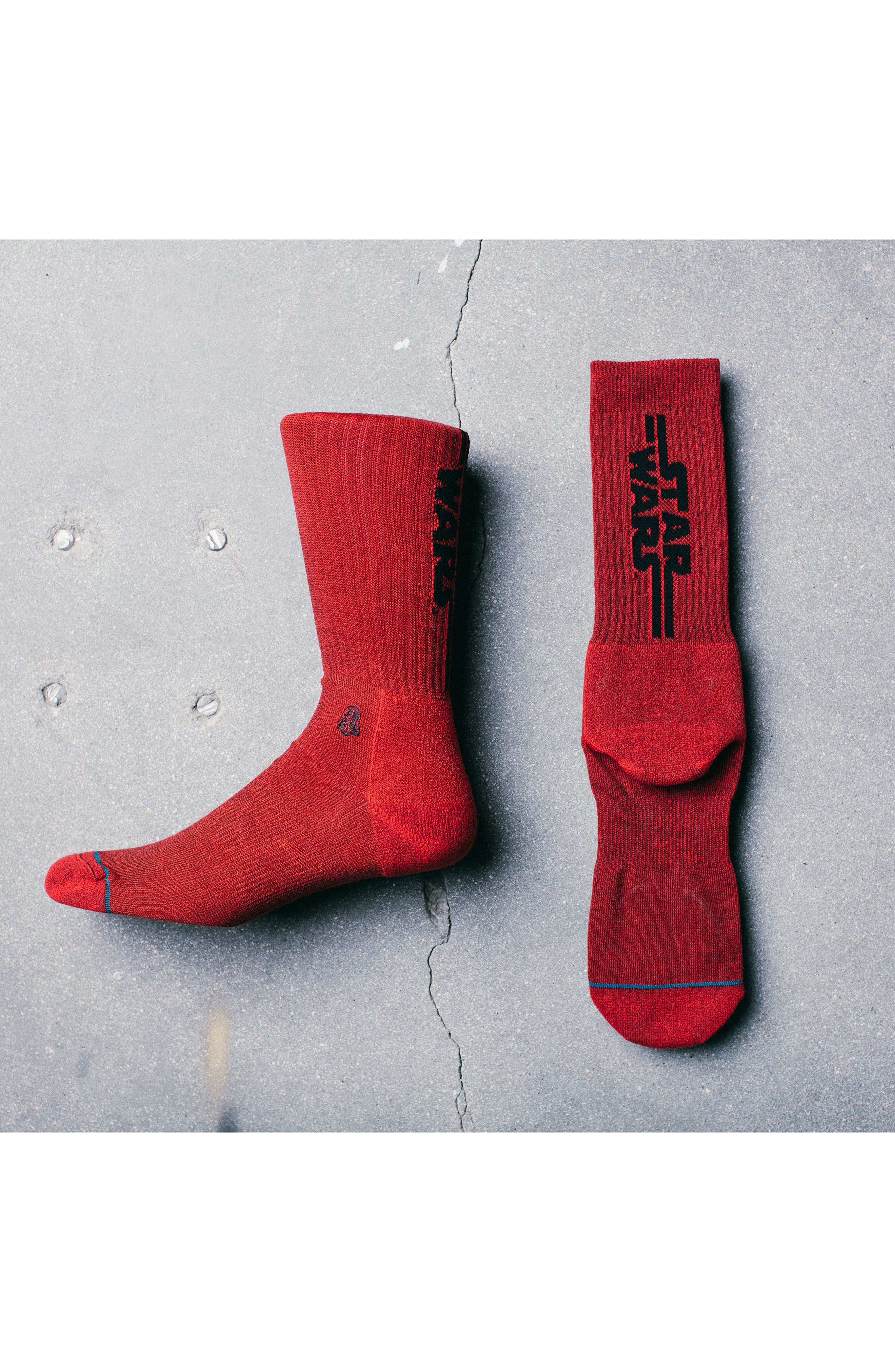 Star Wars Solid Vader Socks,                             Alternate thumbnail 2, color,                             Red