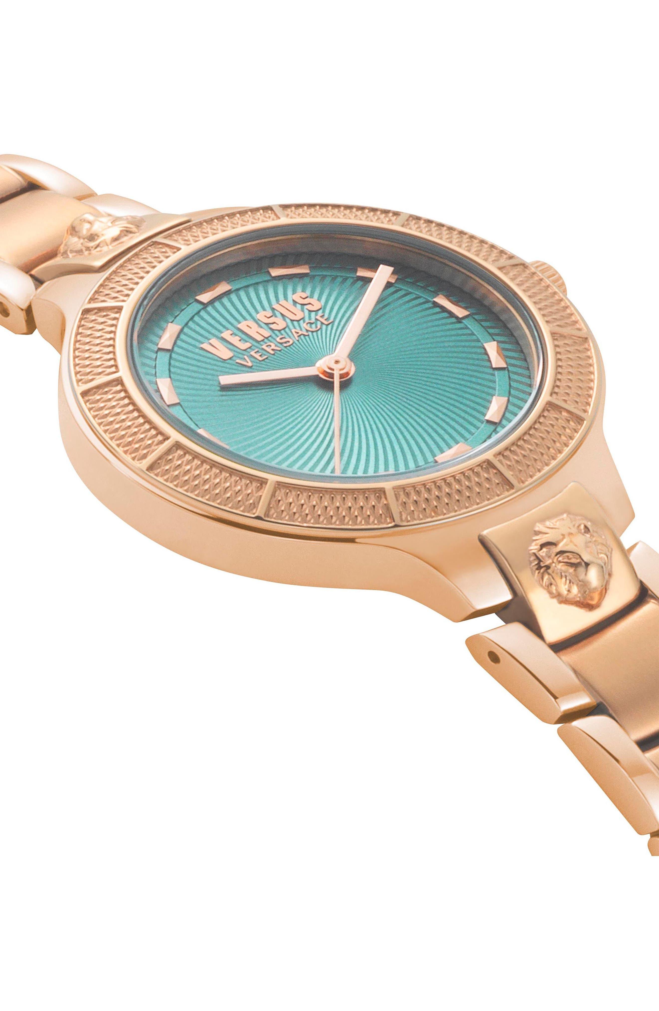 VERSUS by Versace Claremont Bracelet Watch, 32mm,                             Alternate thumbnail 3, color,                             Rose Gold/ Green/ Rose Gold