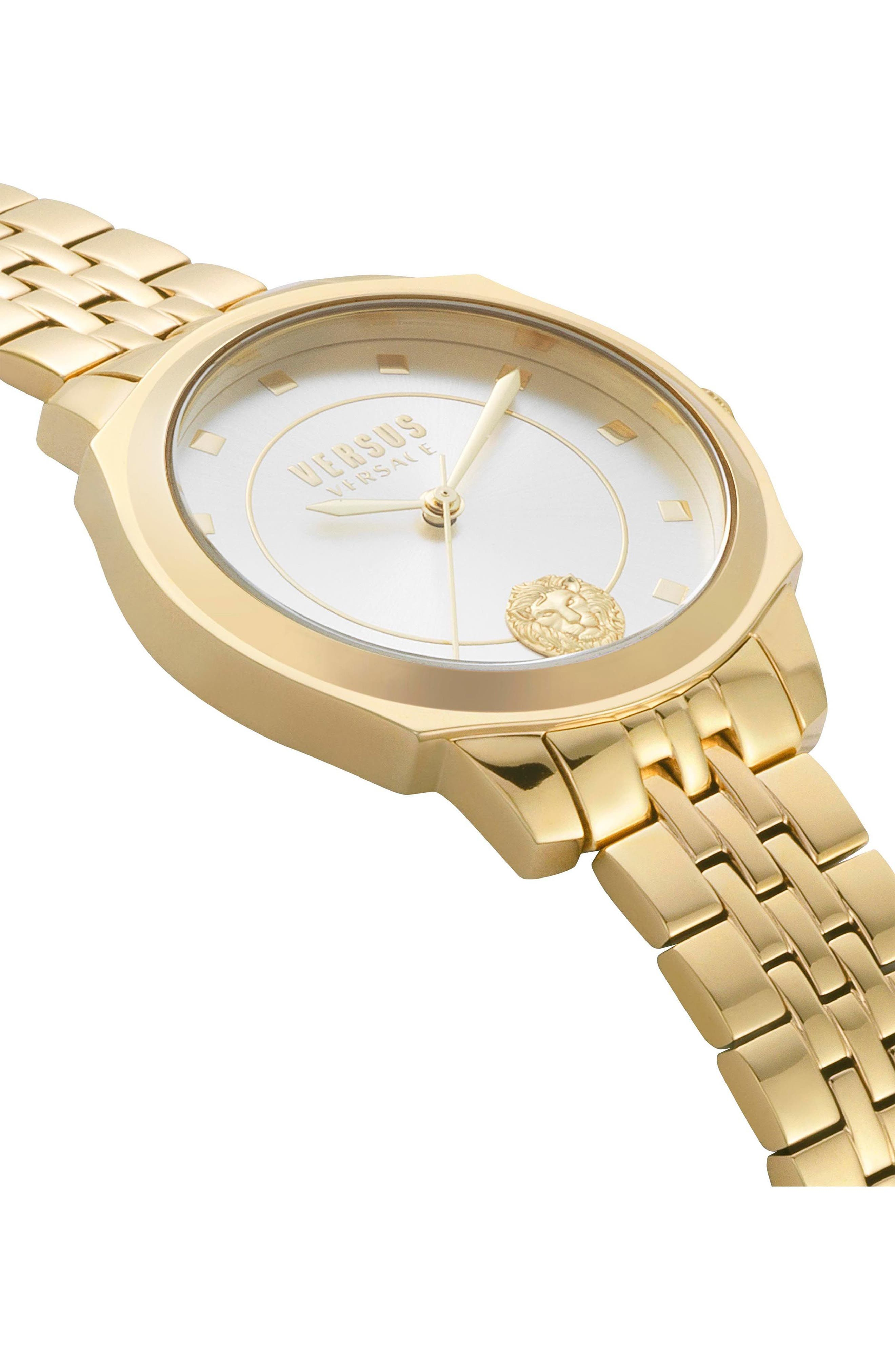 VERSUS by Versace Chelsea Bracelet Watch, 34mm,                             Alternate thumbnail 3, color,                             Gold/ Silver/ Gold
