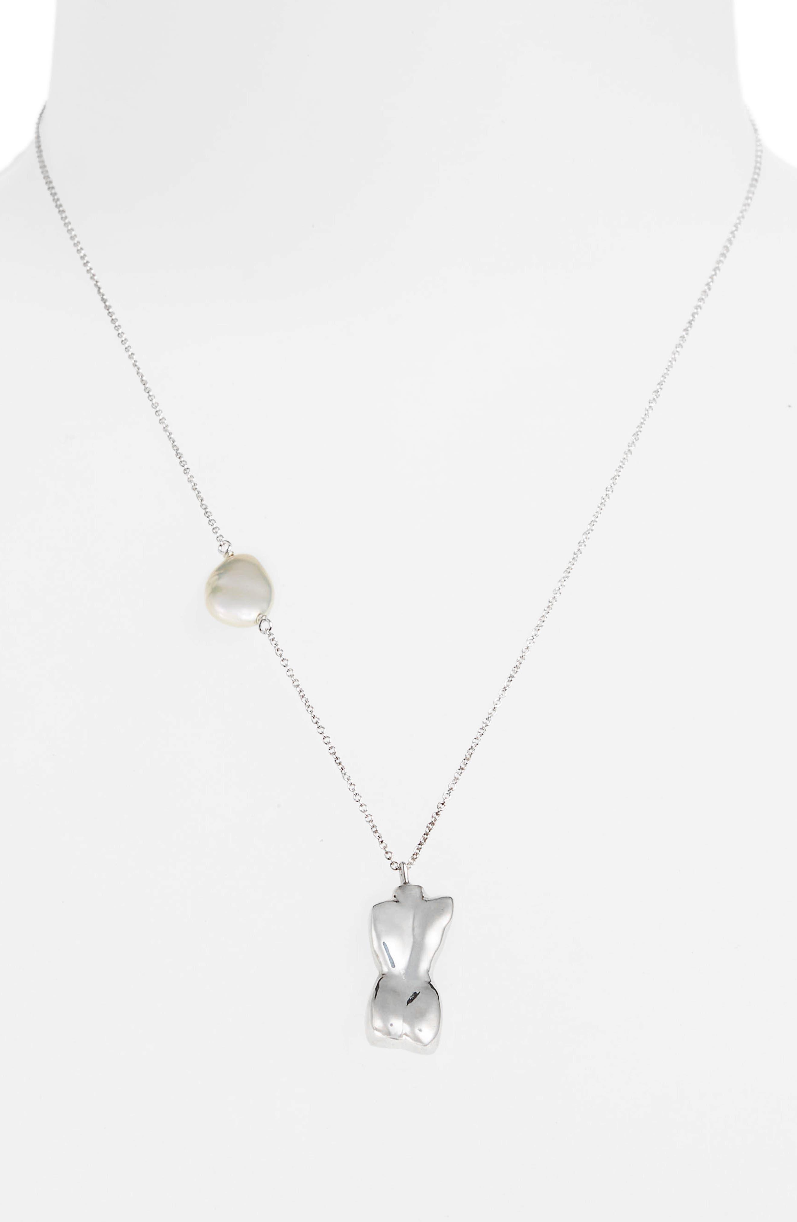 Bod Pendant Necklace,                             Alternate thumbnail 3, color,                             Sterling Silver/ White Keshi