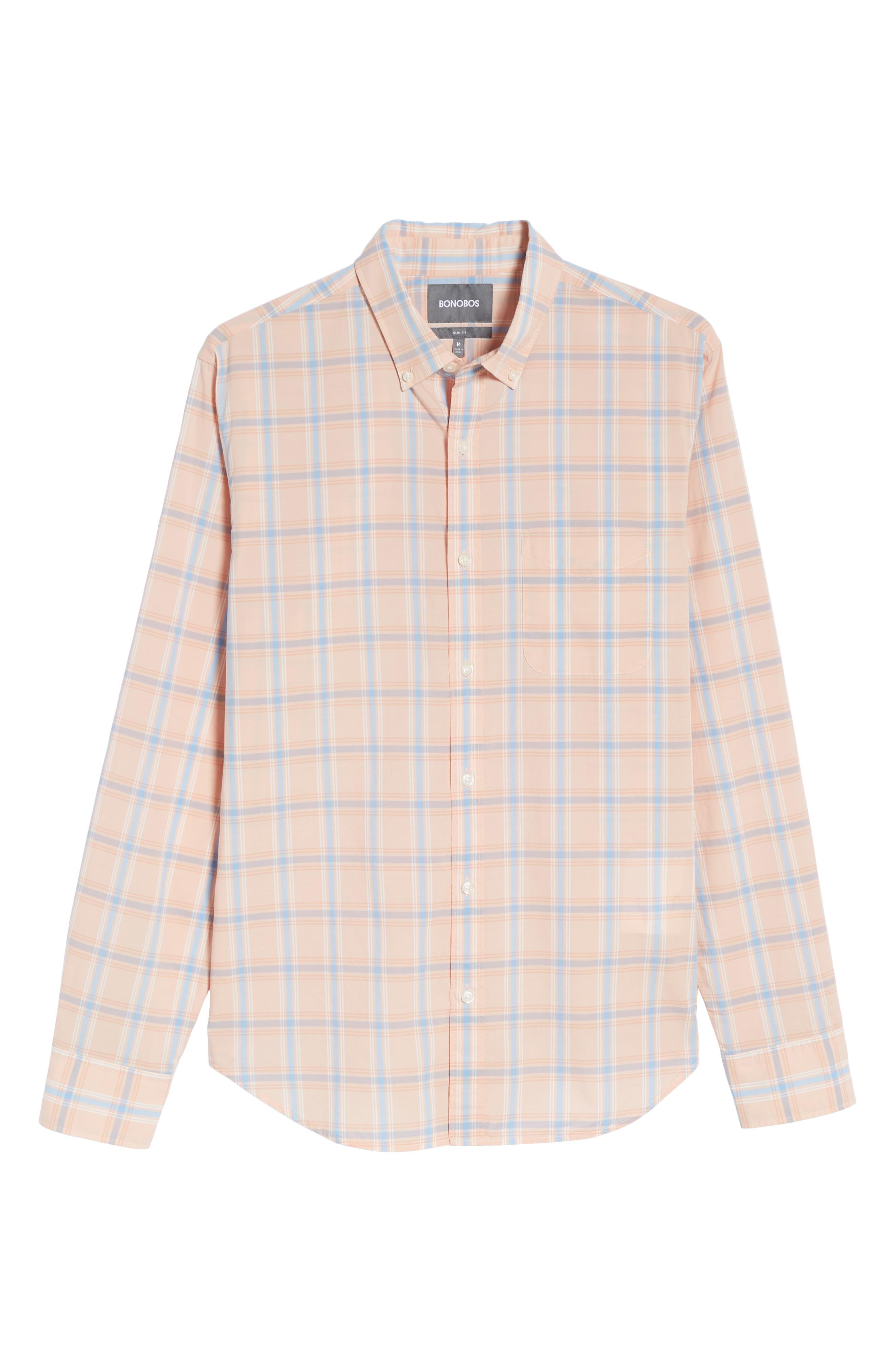Summerweight Slim Fit Plaid Sport Shirt,                             Alternate thumbnail 6, color,                             Frida Peak Plaid - Sorbet
