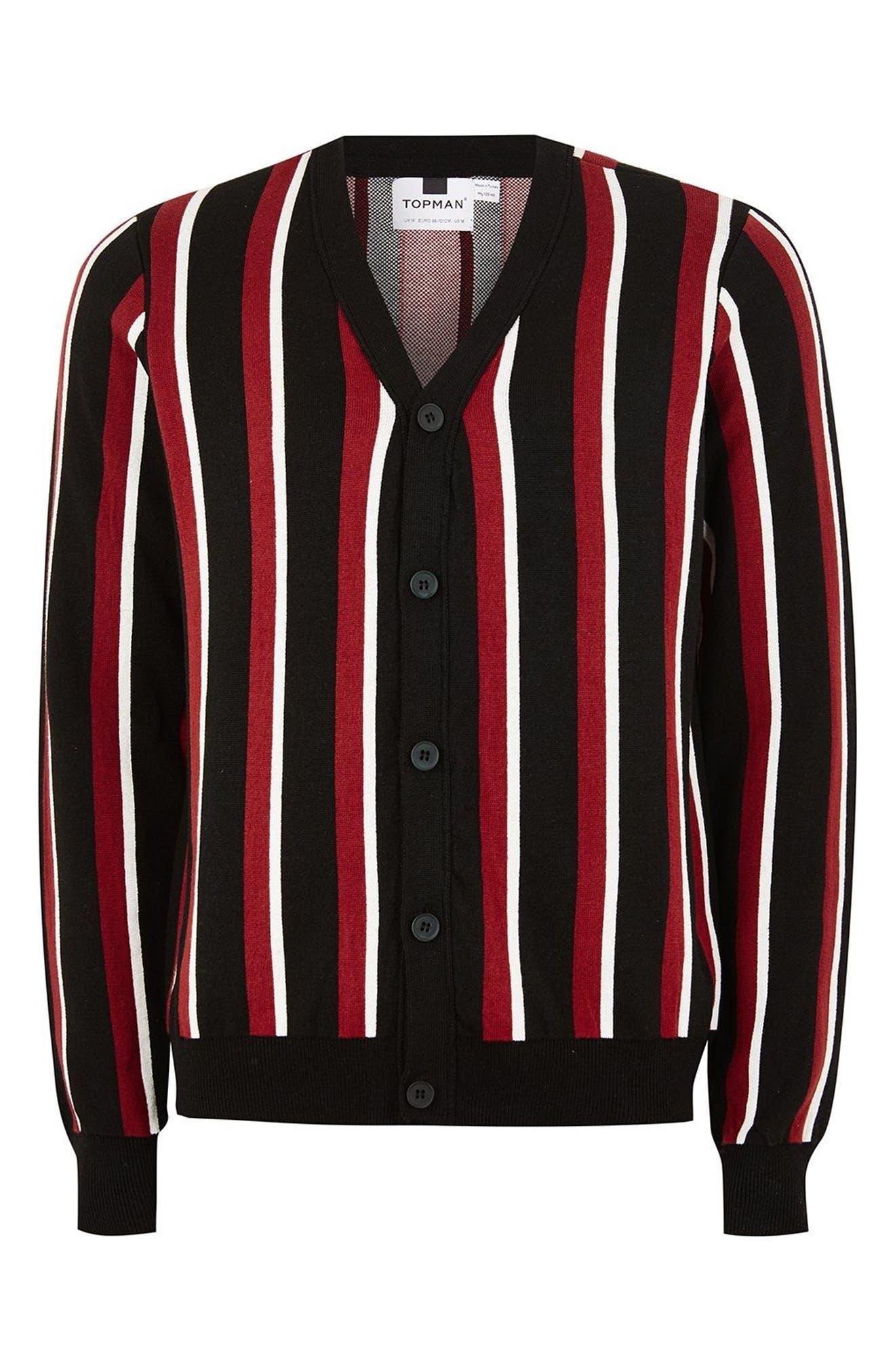 Slim Fit Stripe Cardigan,                             Alternate thumbnail 4, color,                             Black Multi