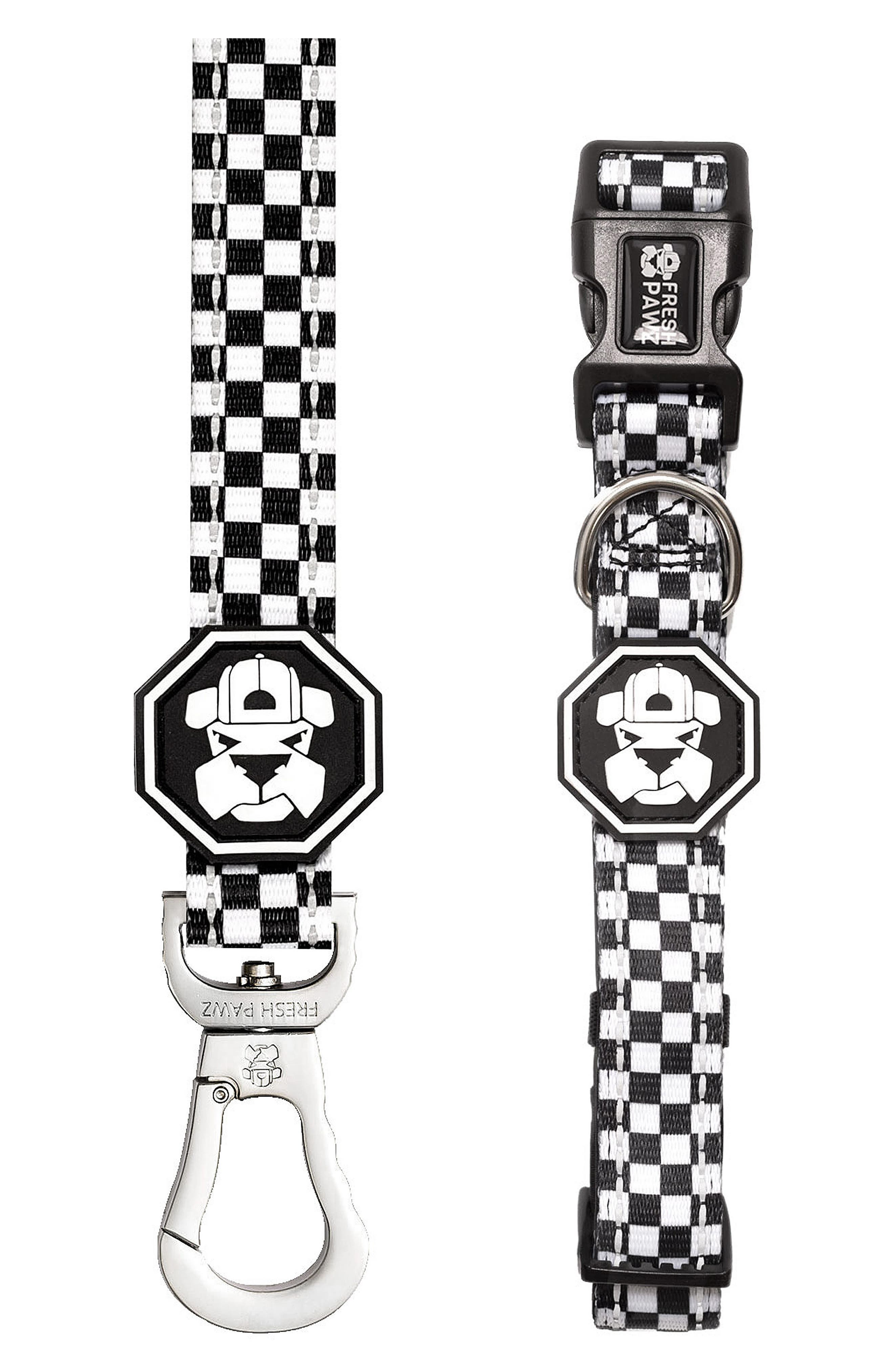 Leash and Collar Set,                         Main,                         color, The Checkerboard