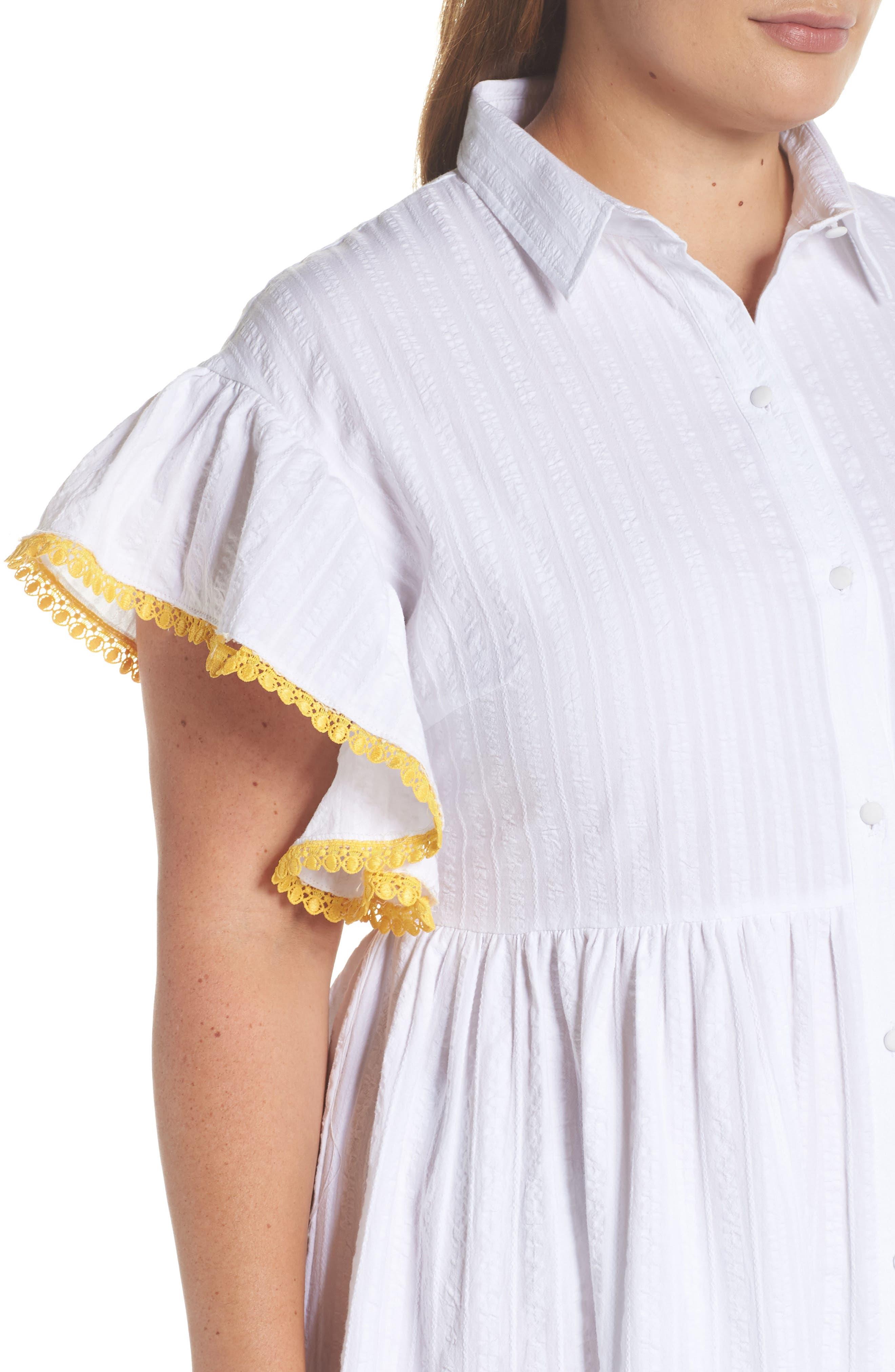 Shirred Shirt Dress,                             Alternate thumbnail 4, color,                             White