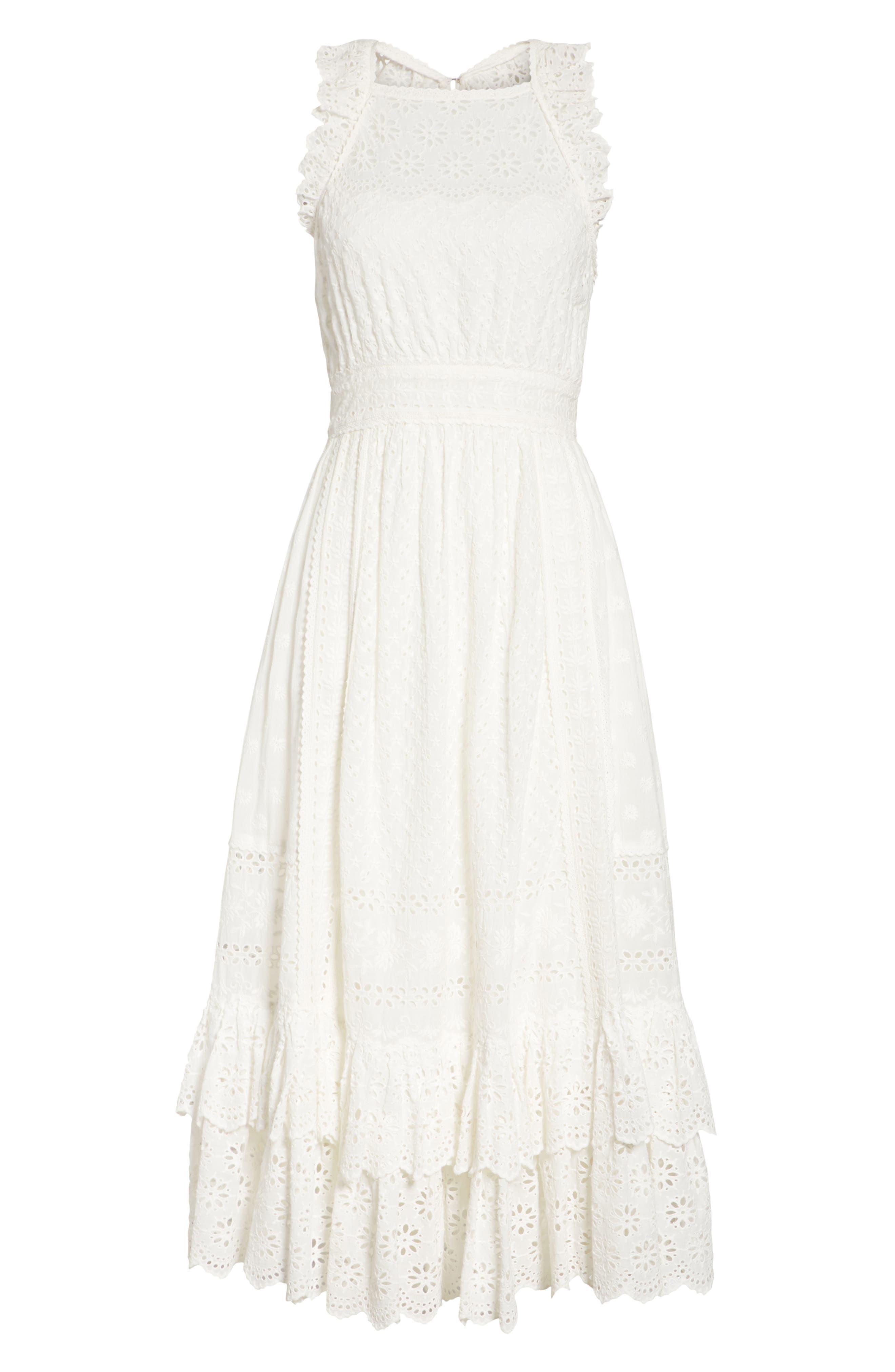 Willow Eyelet Dress,                             Alternate thumbnail 6, color,                             Blanc