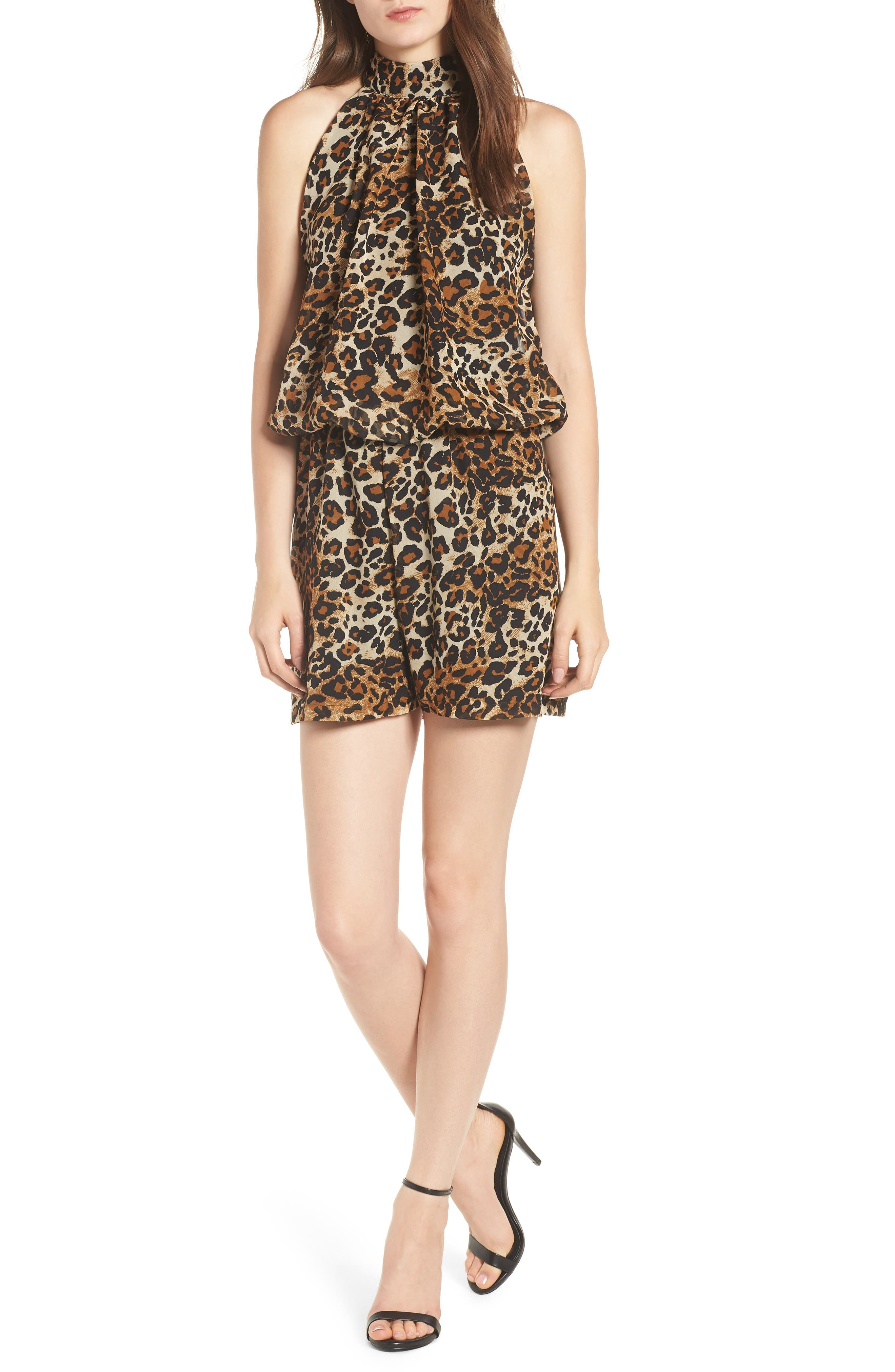 Leopard Print Halter Romper,                         Main,                         color, Exploded Cheetah