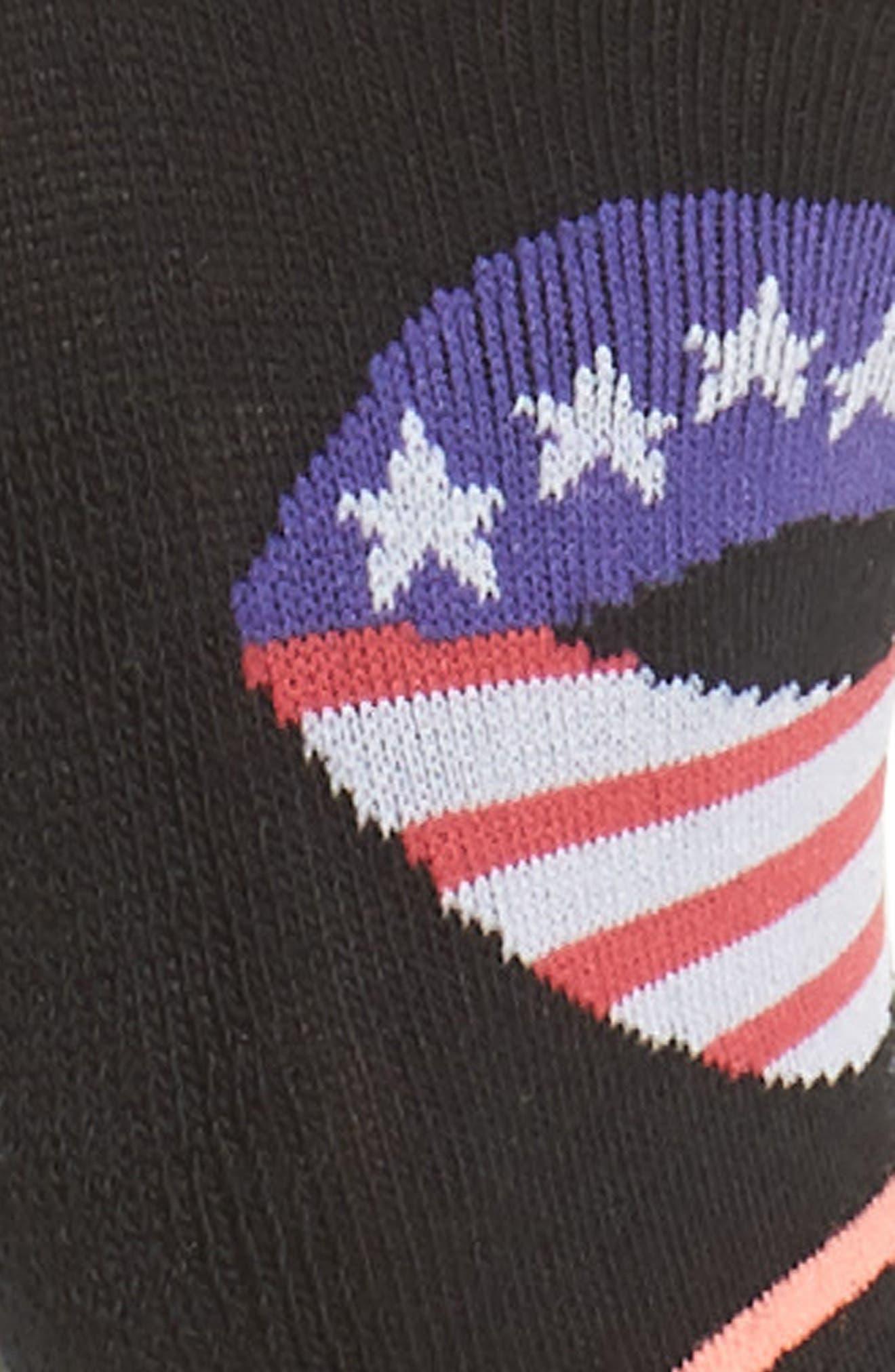 Kiss My Flag No Show Socks,                             Alternate thumbnail 2, color,                             Black