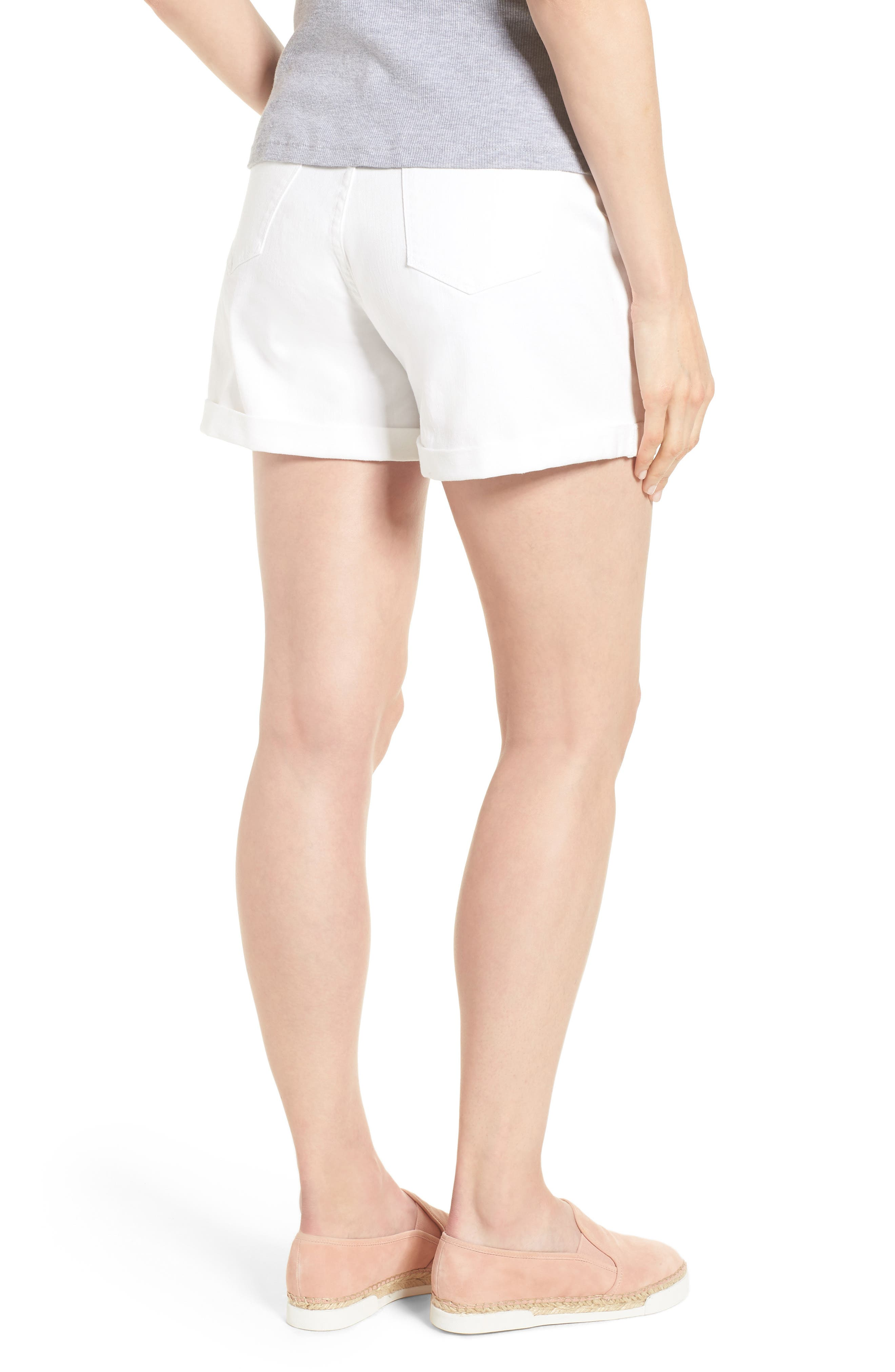 Mia Maternity Boyfriend Shorts,                             Alternate thumbnail 2, color,                             White