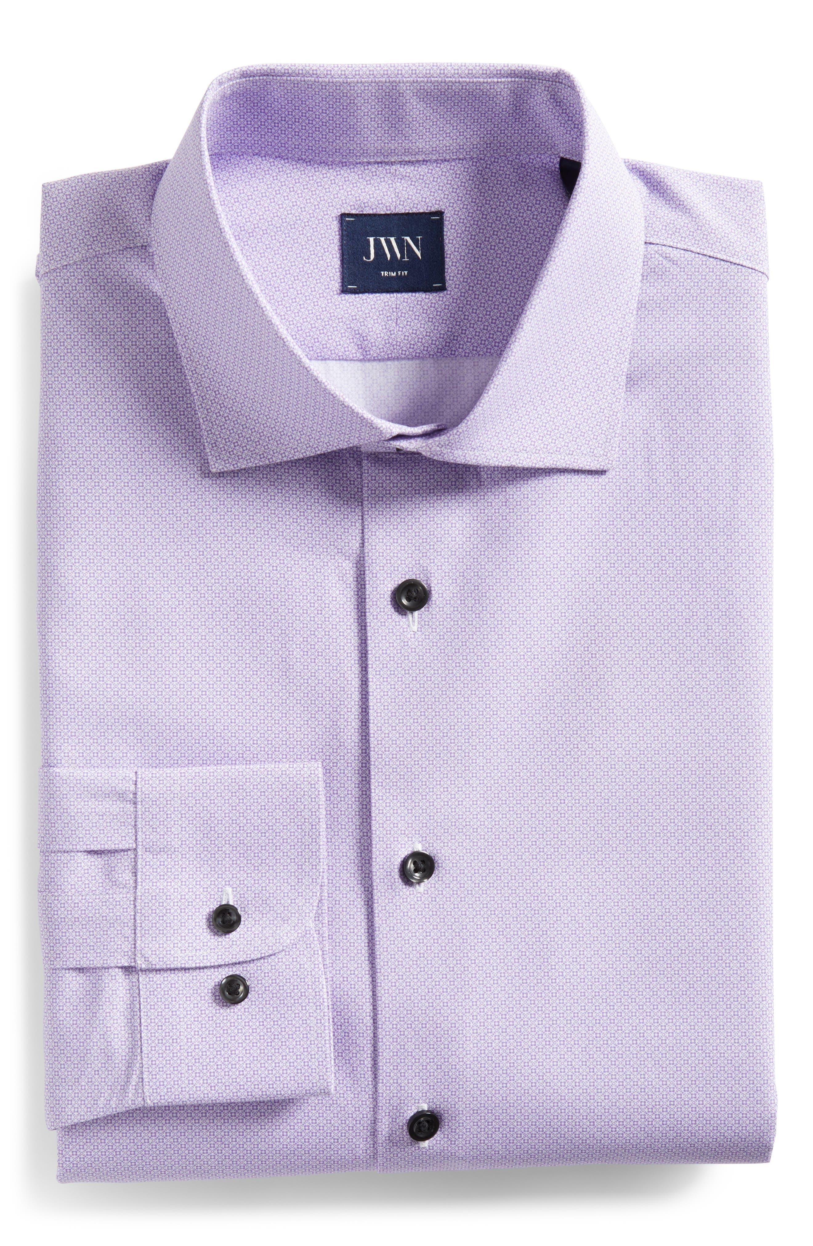 Trim Fit Geometric Dress Shirt,                             Alternate thumbnail 6, color,                             Purple Regal