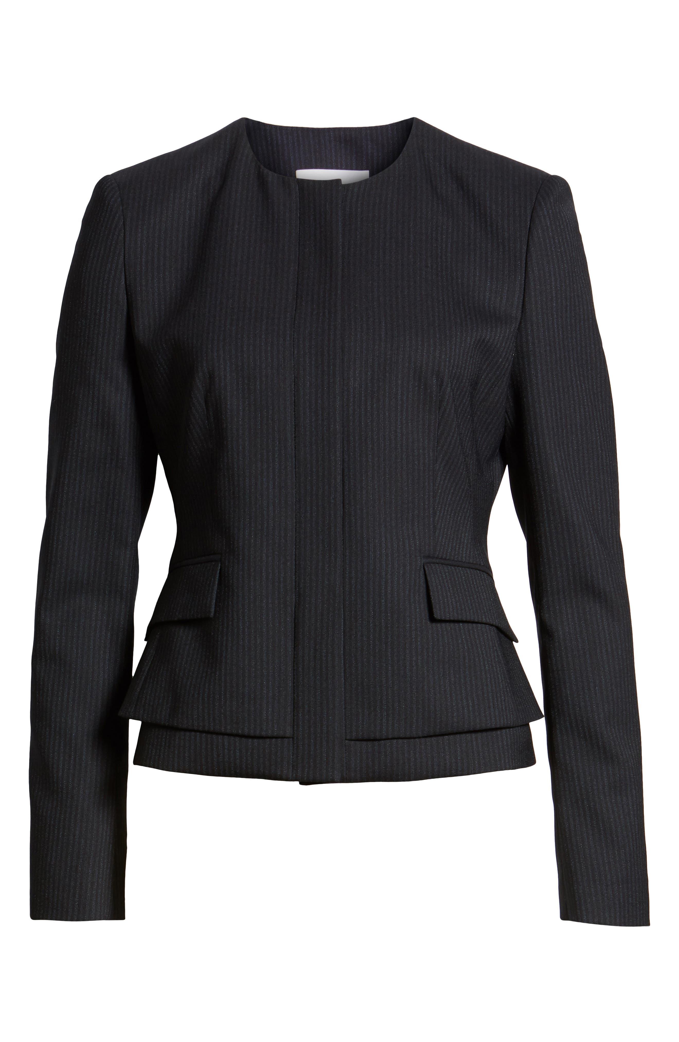 Jasyma Tonal Stripe Stretch Wool Suit Jacket,                             Alternate thumbnail 6, color,                             Navy Fantasy