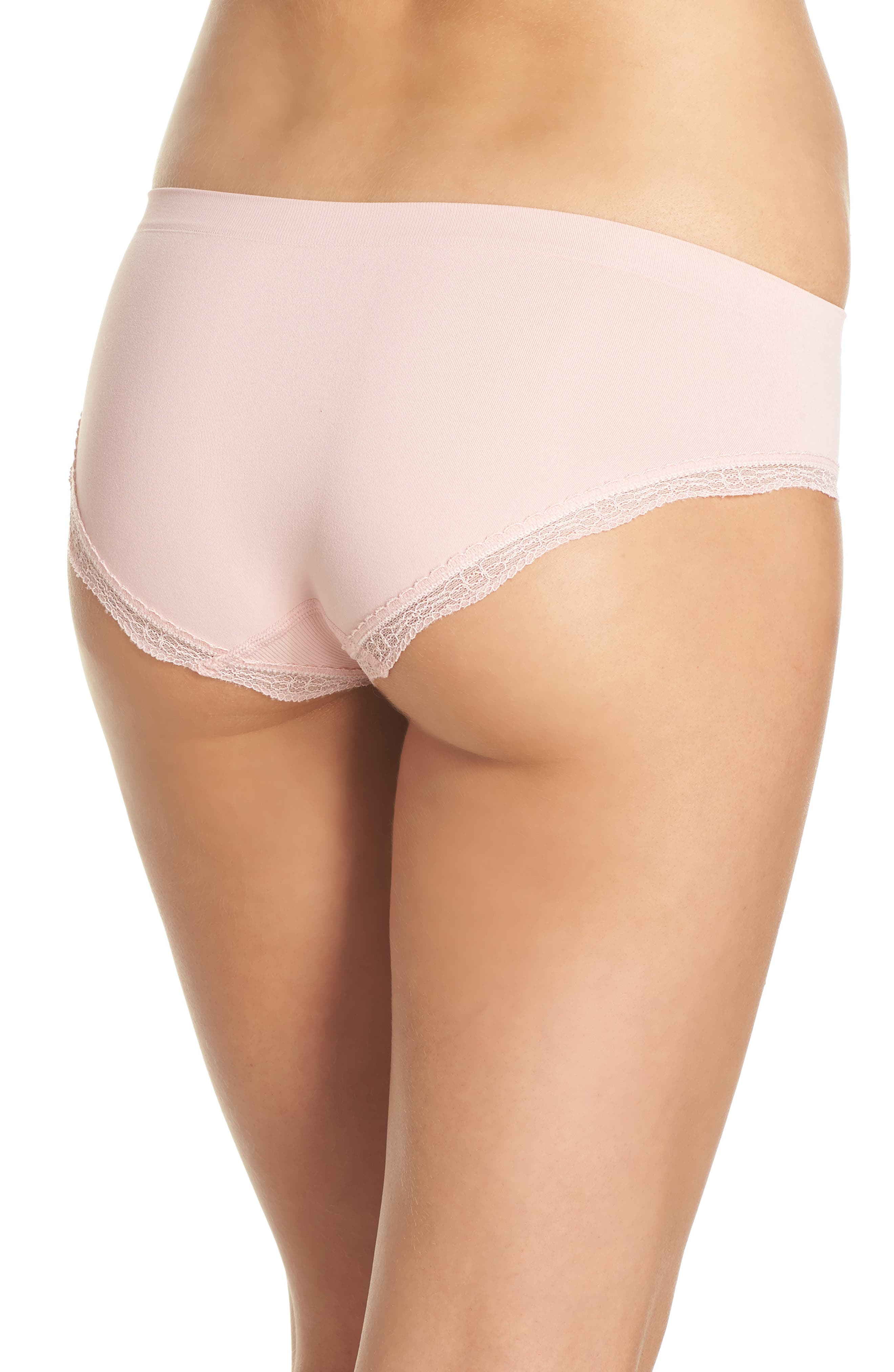 Lace Trim Seamless Hipster Briefs,                             Alternate thumbnail 2, color,                             Pink Silver