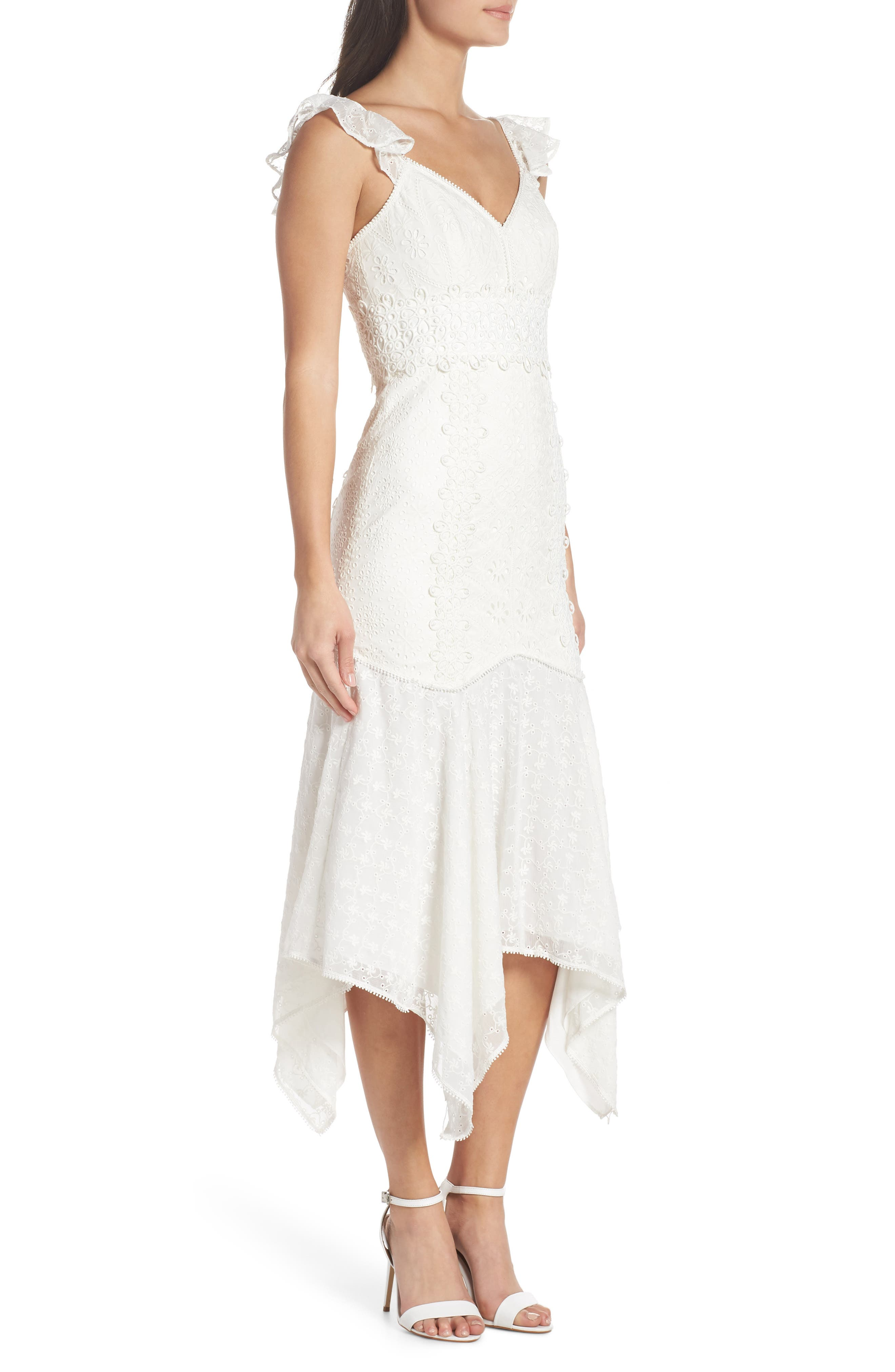 Broderie Anglaise Dress,                             Alternate thumbnail 3, color,                             White