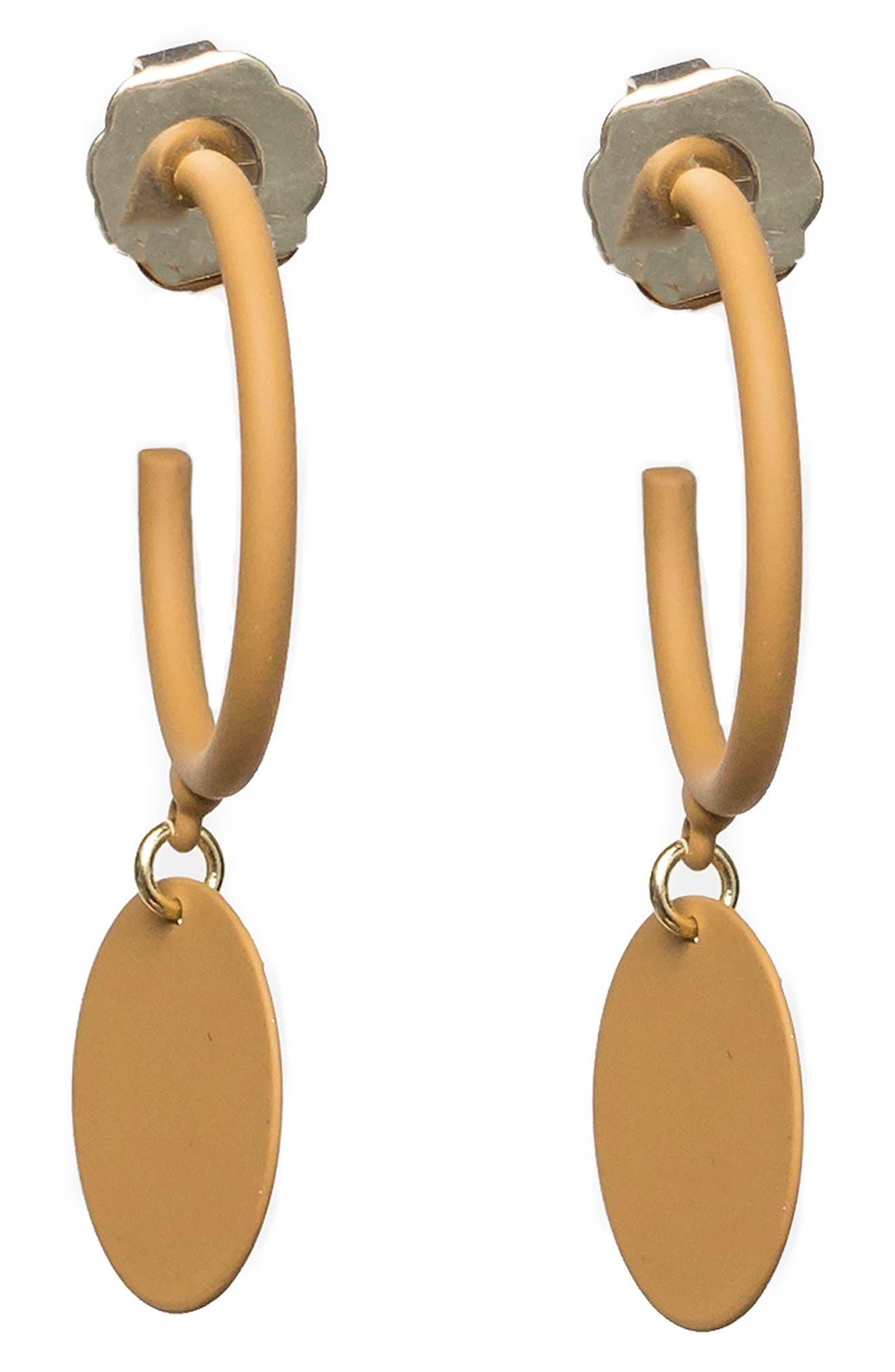 Hanging Medallion Hoop Earrings,                         Main,                         color, Yellow
