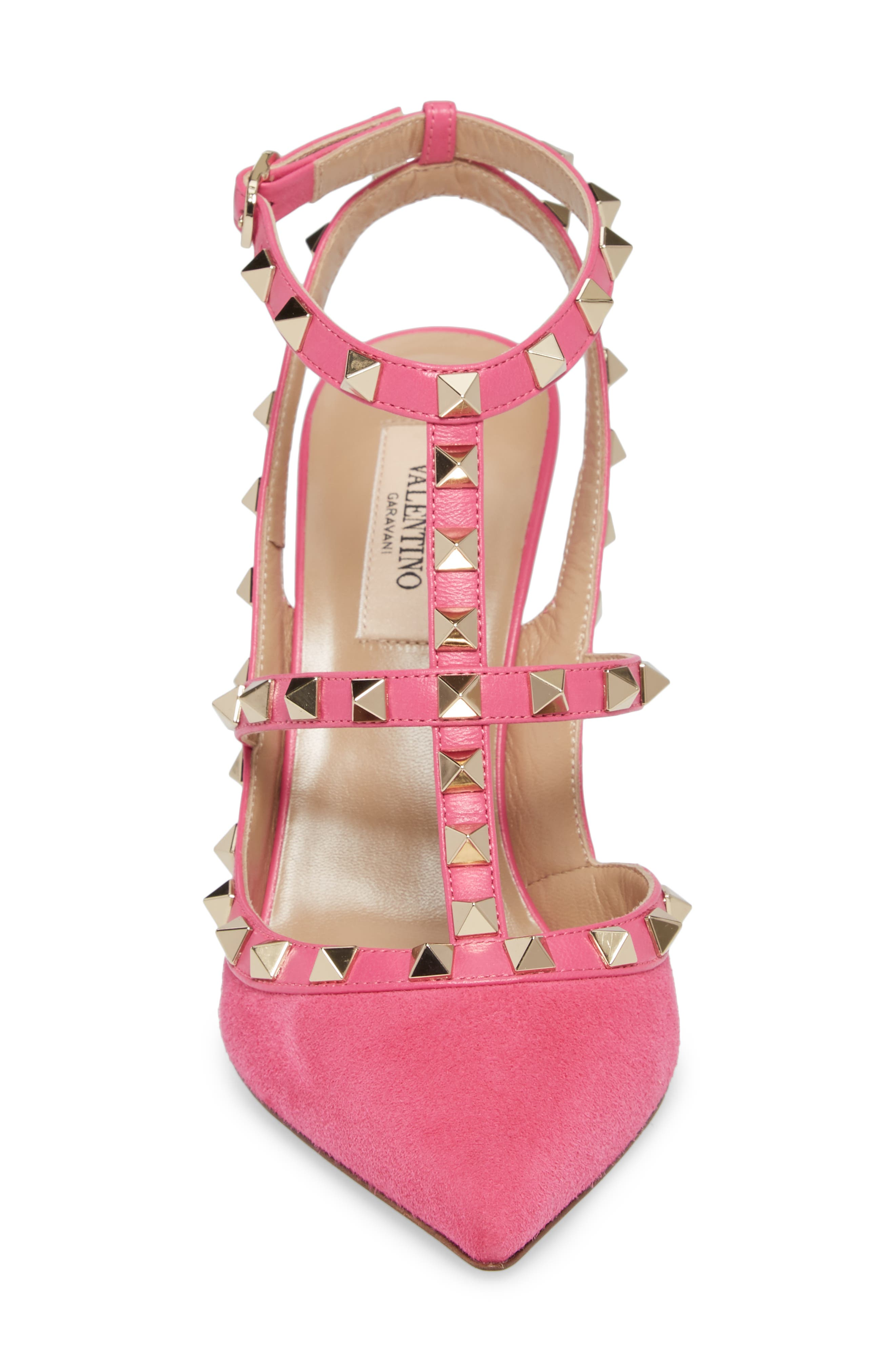 Rockstud T-Strap Pump,                             Alternate thumbnail 4, color,                             Pink/ Pink