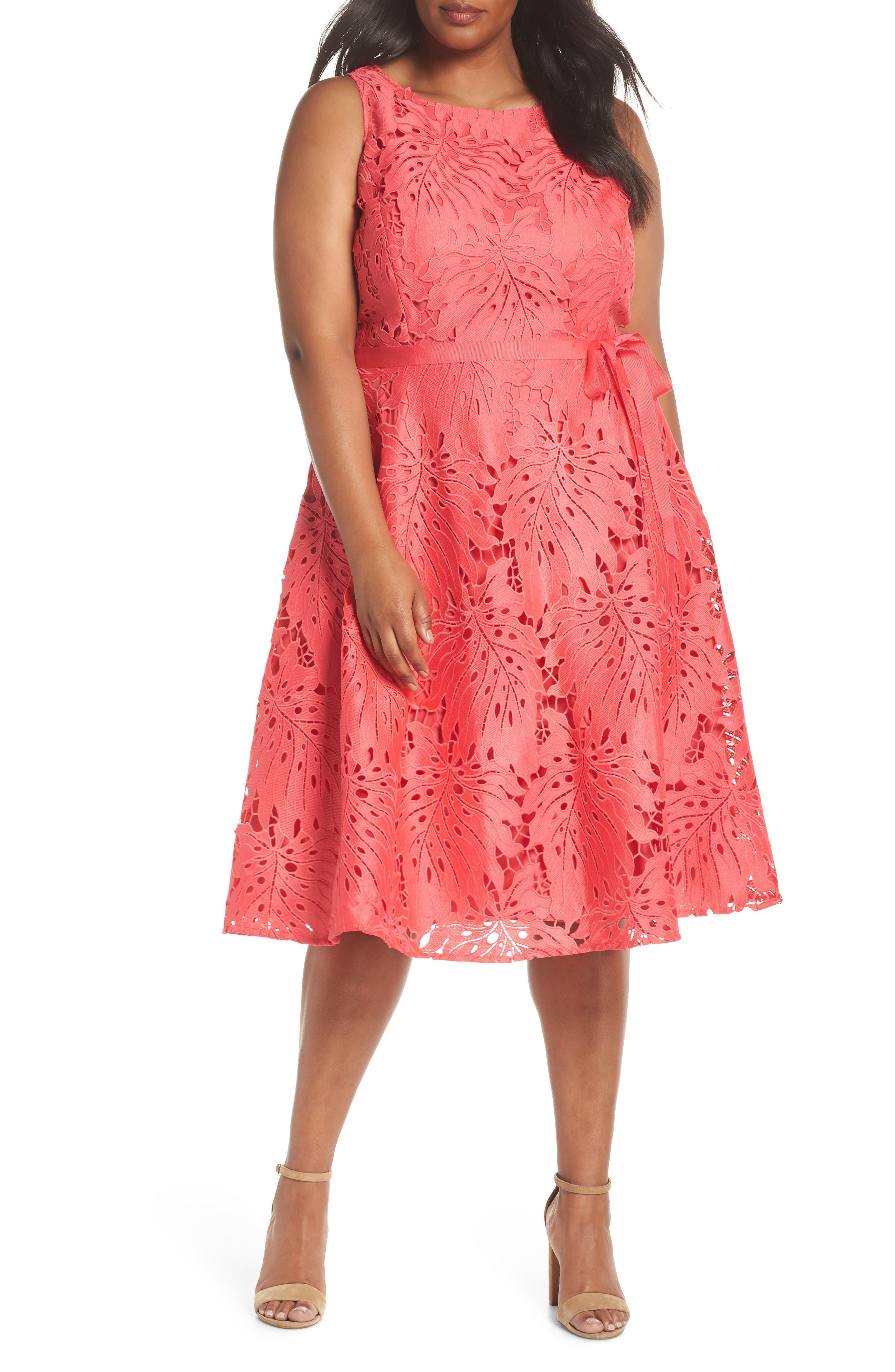 Palm Leaf Chemical Lace A-Line Dress,                         Main,                         color, Watermelon