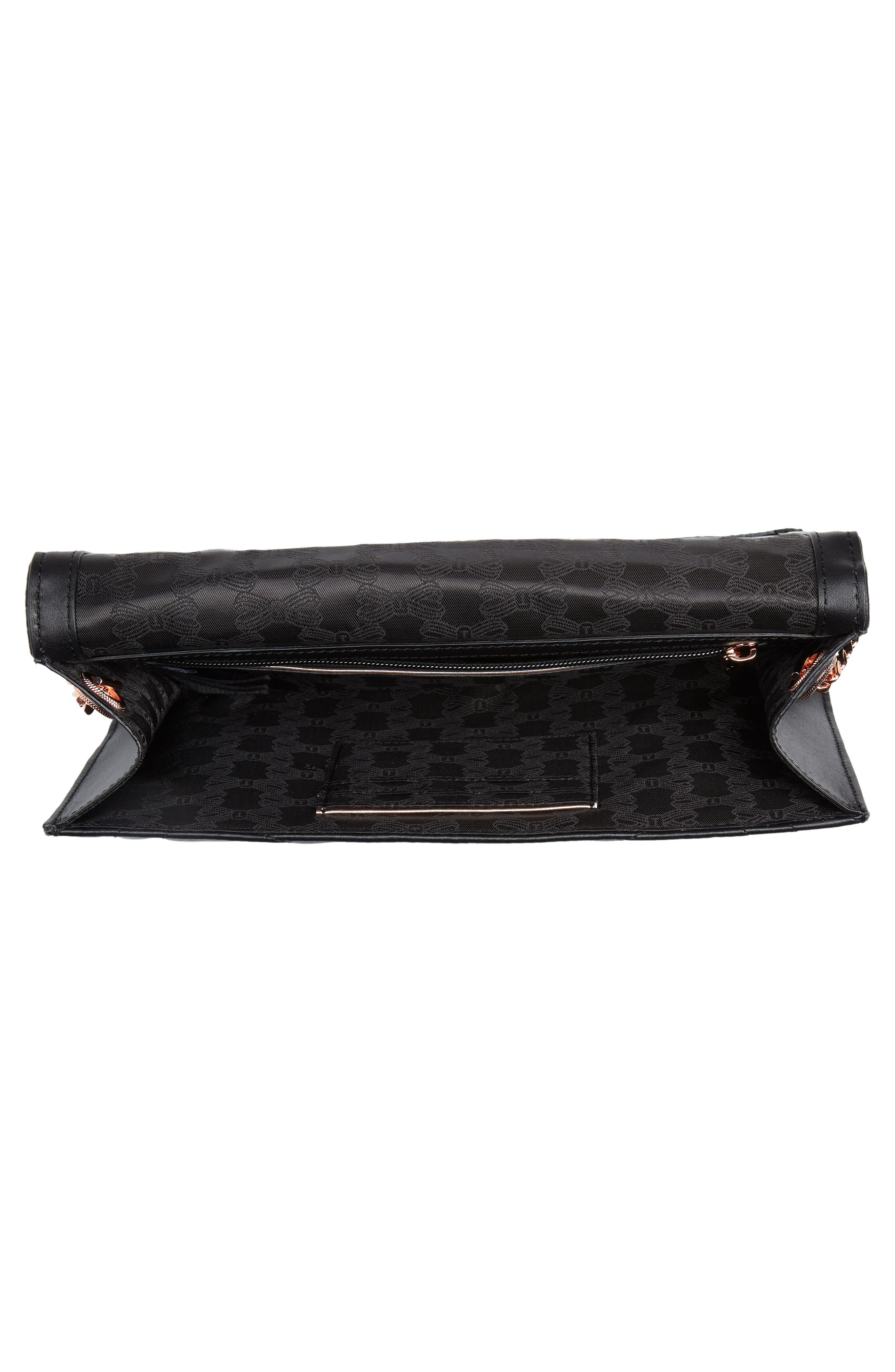 Ciliaa Quilted Bow Leather Clutch,                             Alternate thumbnail 4, color,                             Black