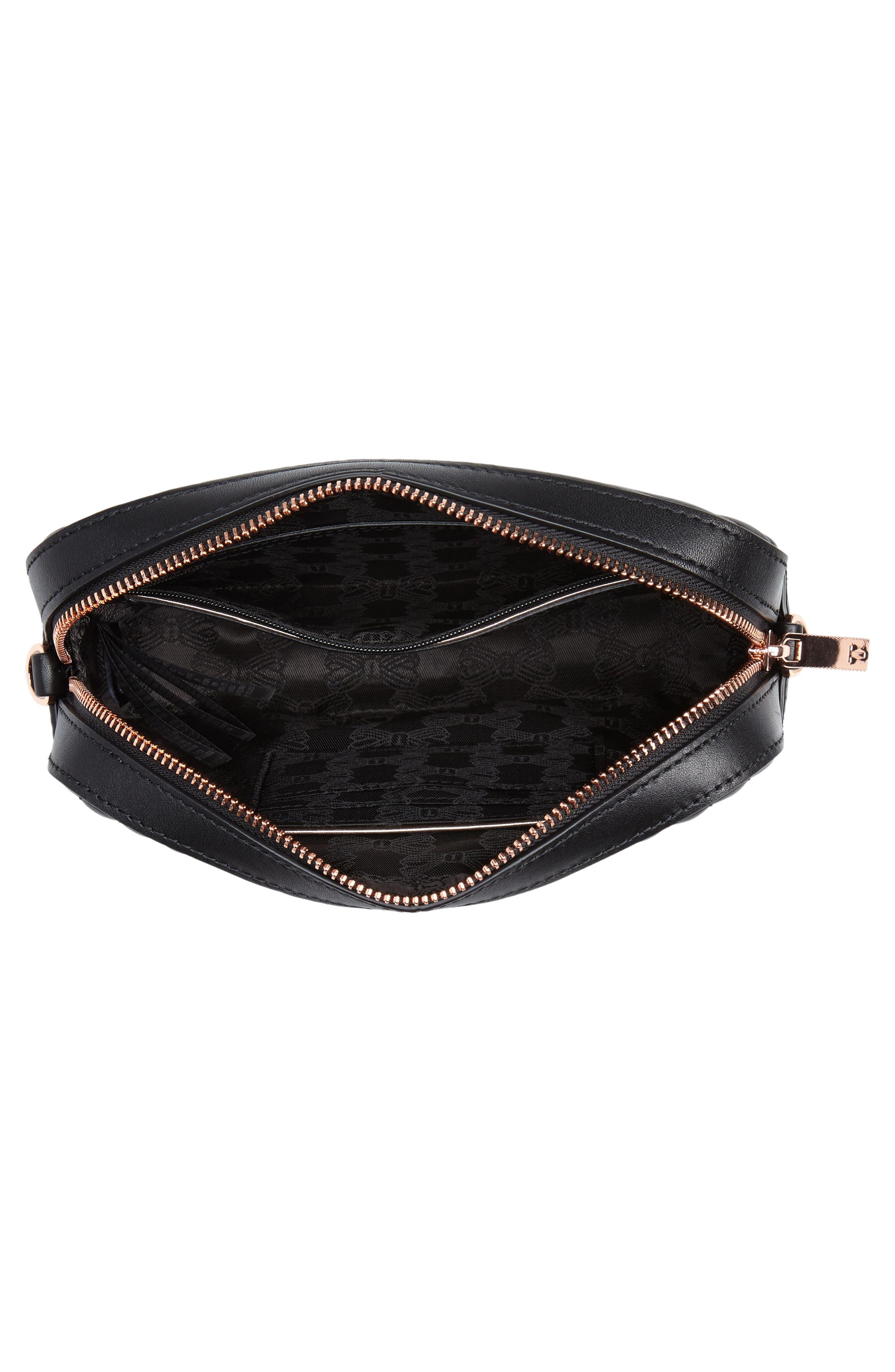 Quilted Leather Camera Bag,                             Alternate thumbnail 4, color,                             Black
