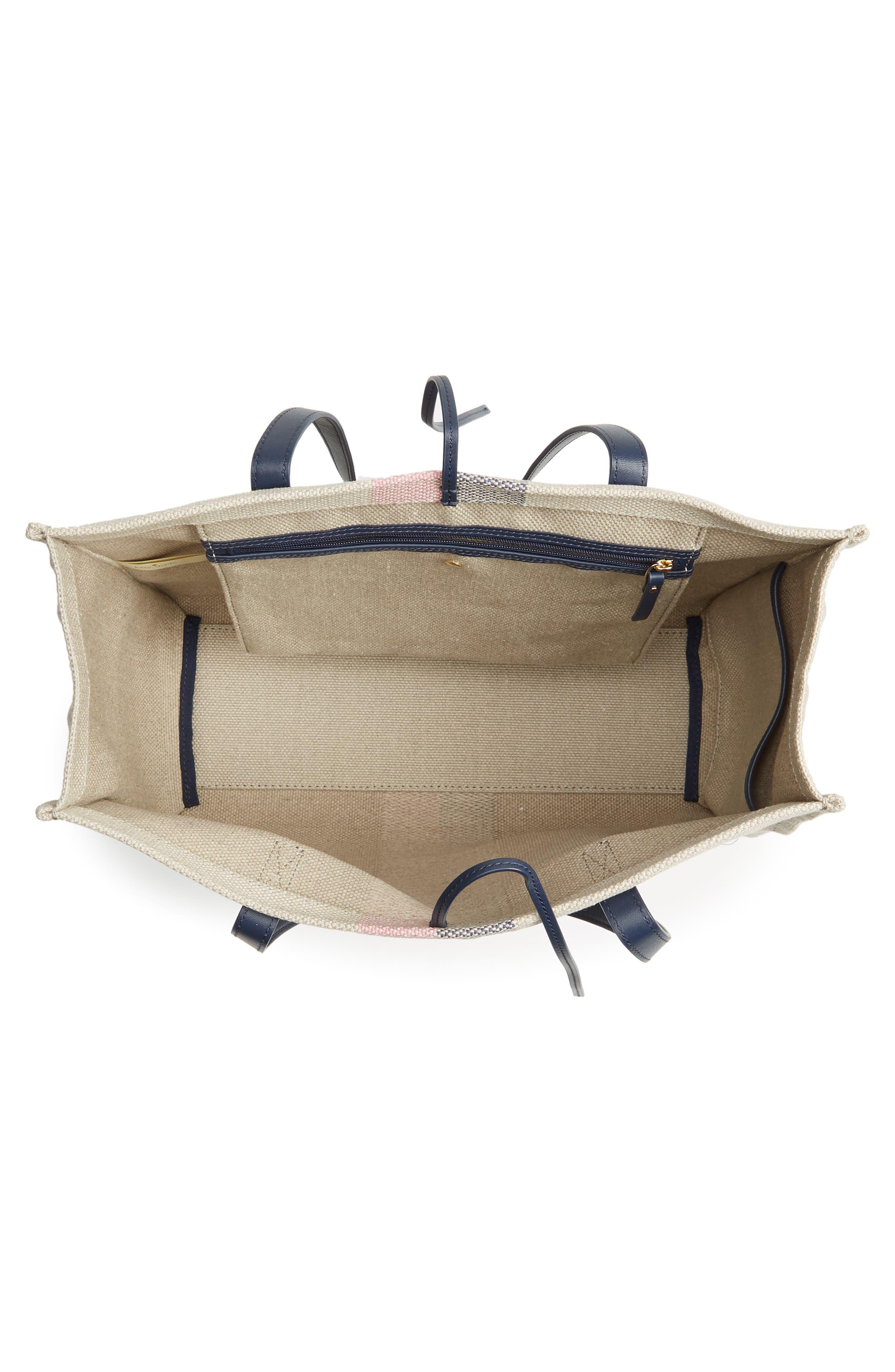 washington square - mega sam canvas satchel,                             Alternate thumbnail 4, color,                             Natural Linen/Bubble Gum/Navy