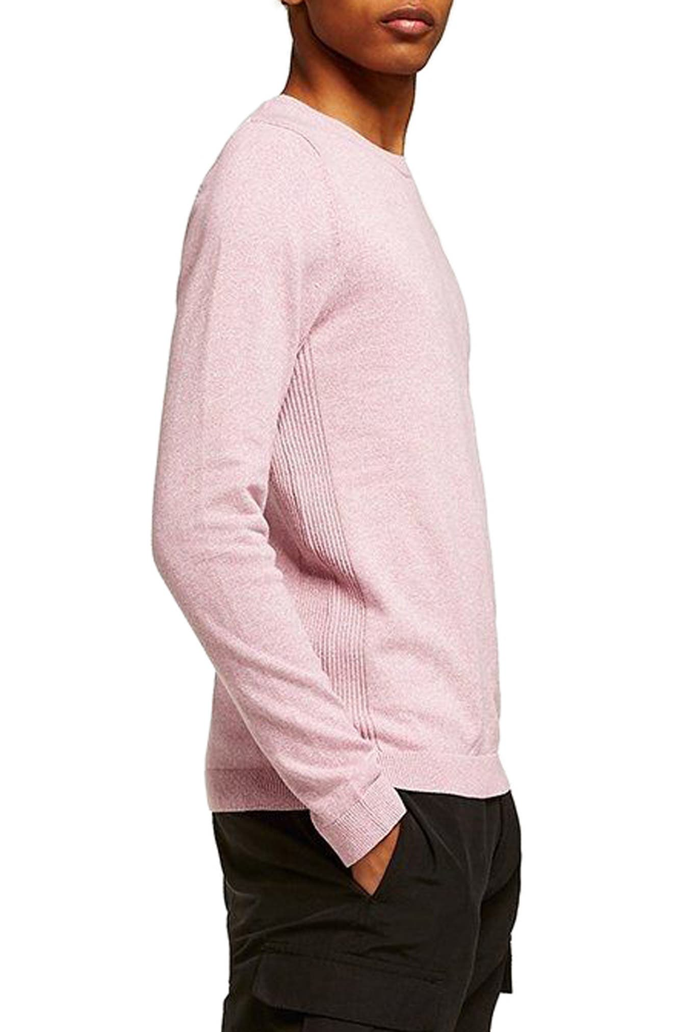 Side Rib Cotton Sweater,                             Alternate thumbnail 3, color,                             Purple