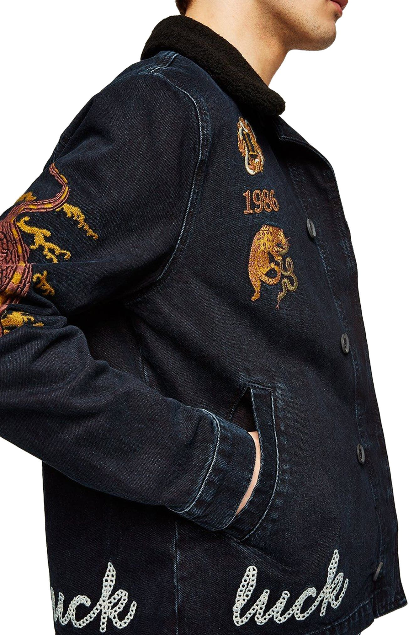 Decadent Embroidered Denim Jacket,                             Alternate thumbnail 3, color,                             Blue Multi