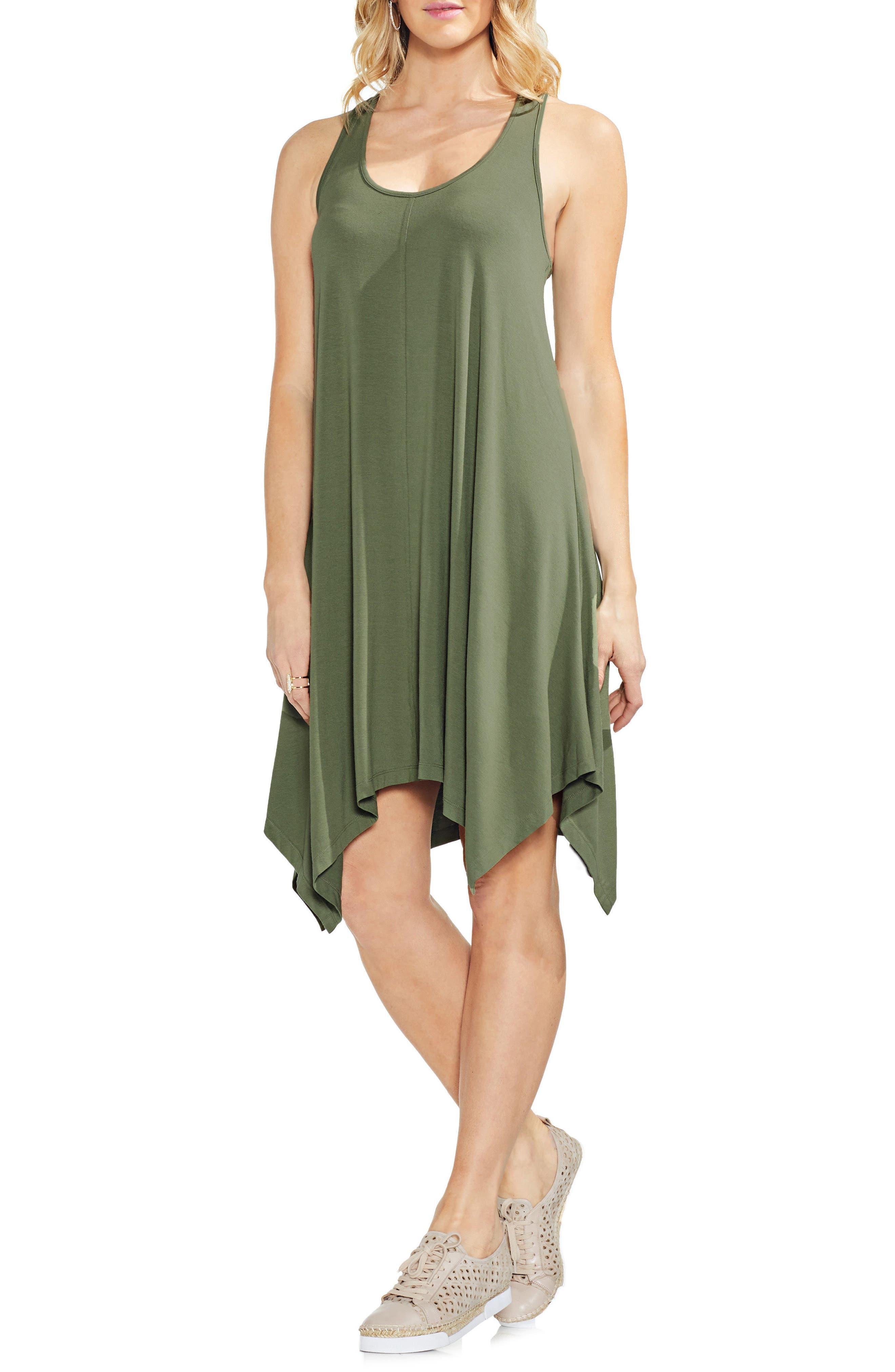 Handkerchief Hem Tank Dress,                             Main thumbnail 1, color,                             Canopy Green