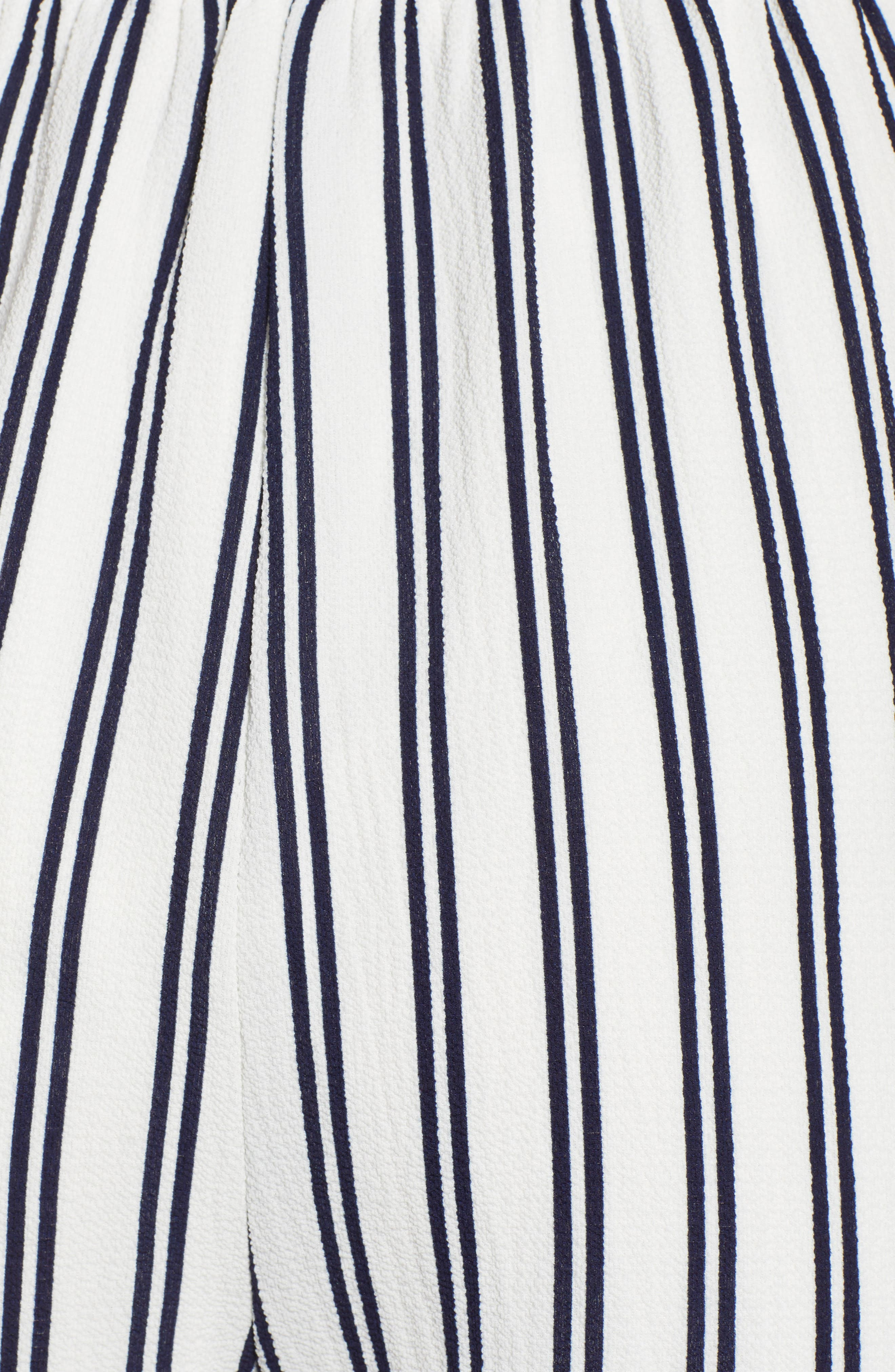 Stripe Off the Shoulder Romper,                             Alternate thumbnail 6, color,                             Navy/ Ivory Stripe