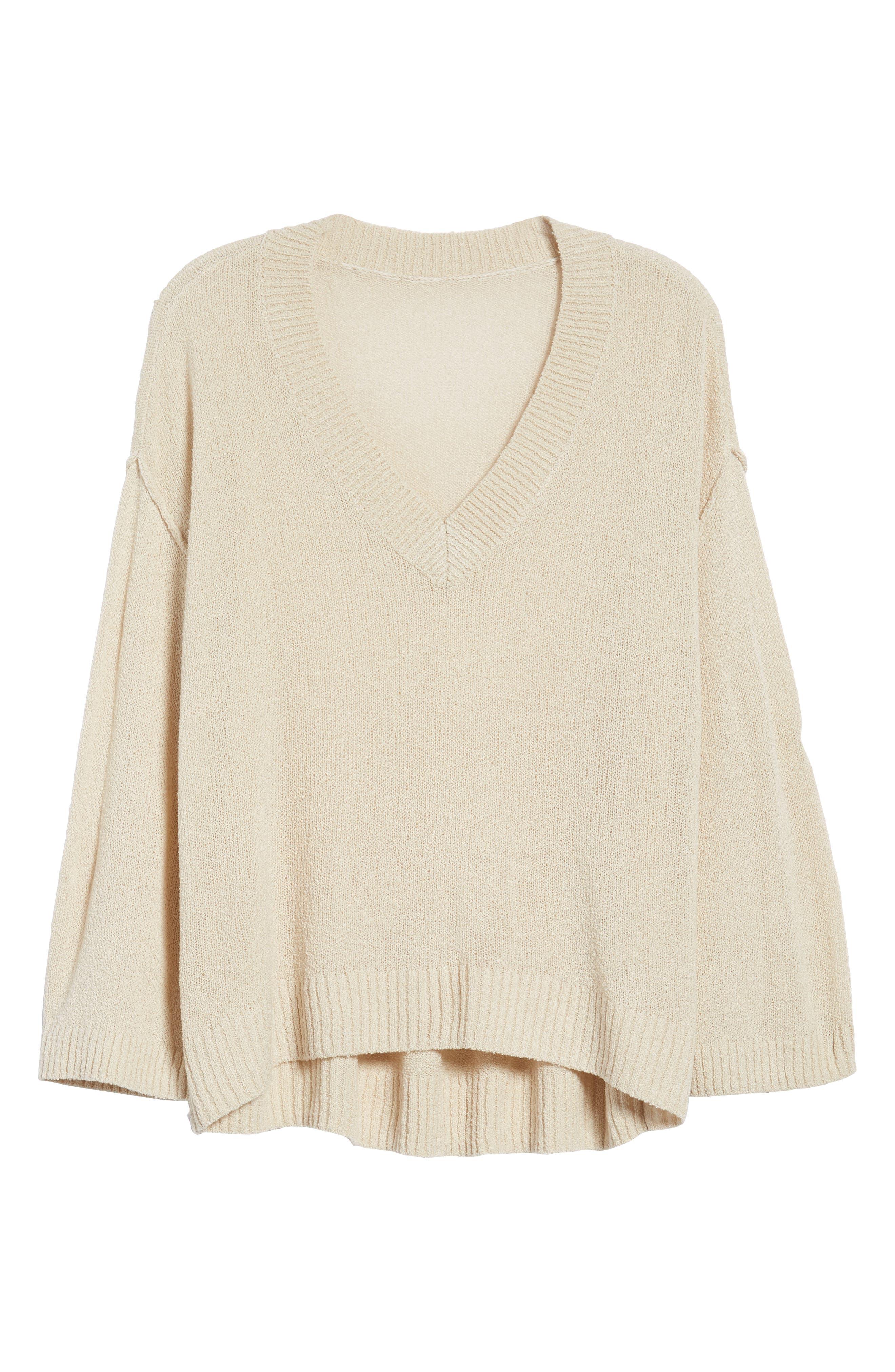 Exposed Seam Sweater,                             Alternate thumbnail 6, color,                             Beige Birch