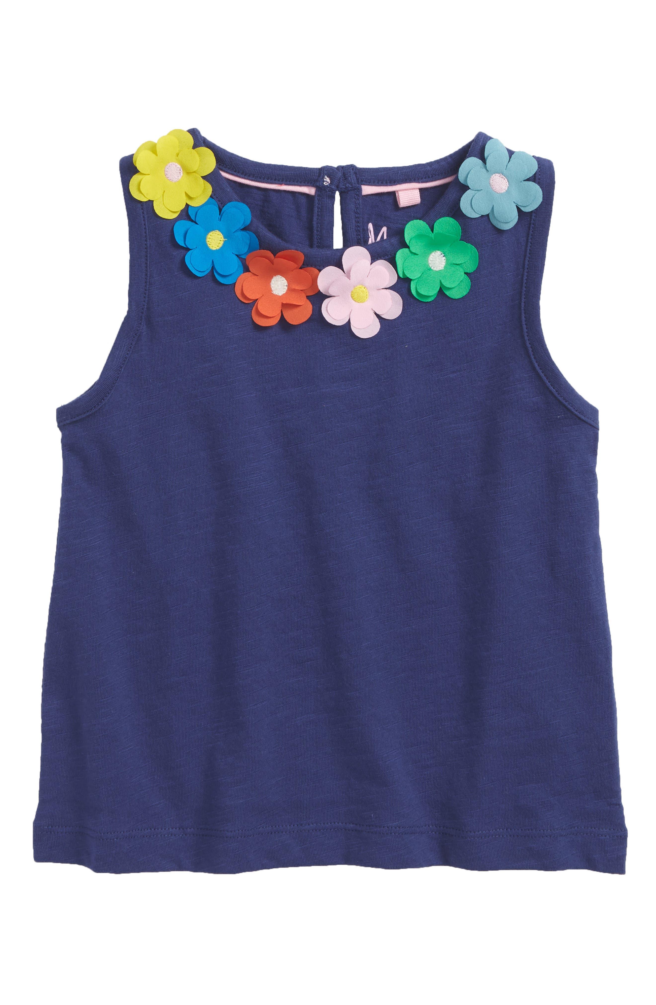 Mini Boden Flower Appliqué Tank (Toddler Girls, Little Girls & Big Girls)
