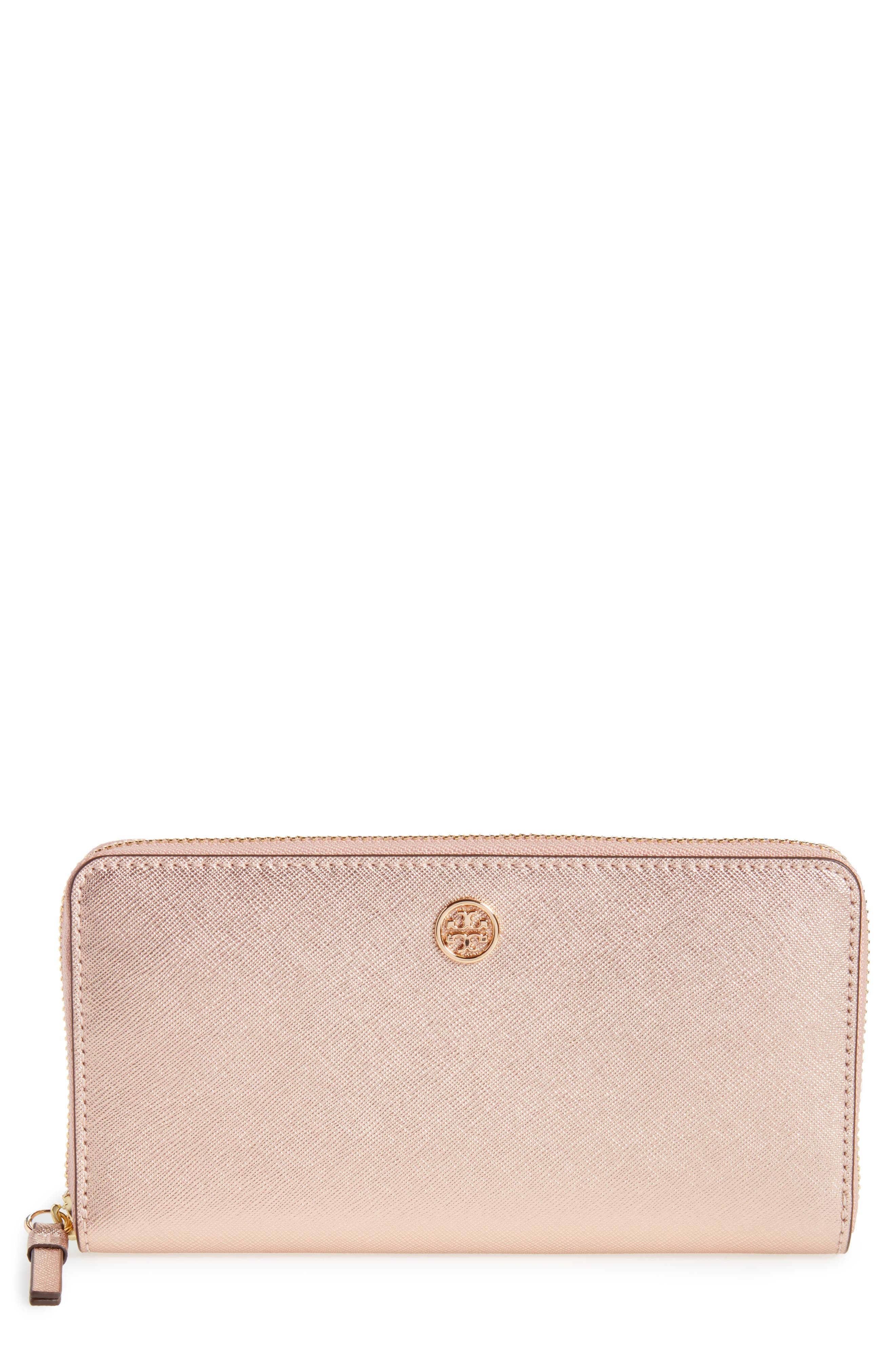 Robinson Metallic Leather Continental Wallet,                             Main thumbnail 1, color,                             Light Rose Gold