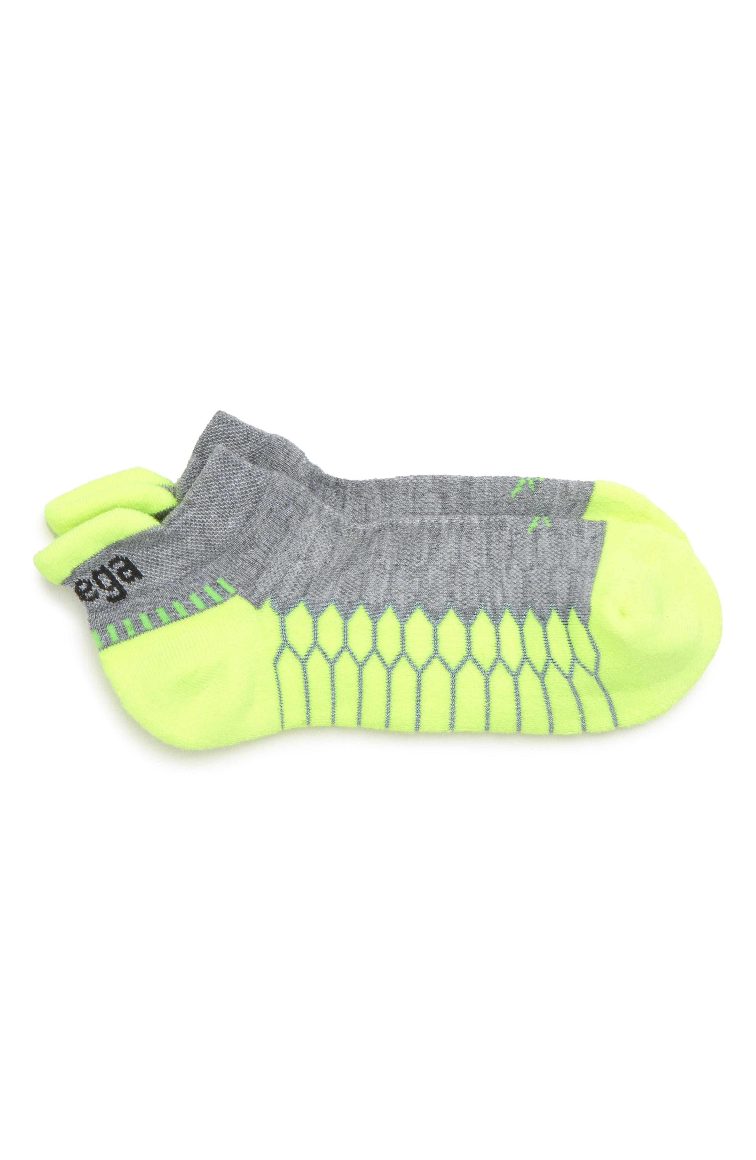 Silver Socks,                             Main thumbnail 1, color,                             Mid Grey/ Neon Lime