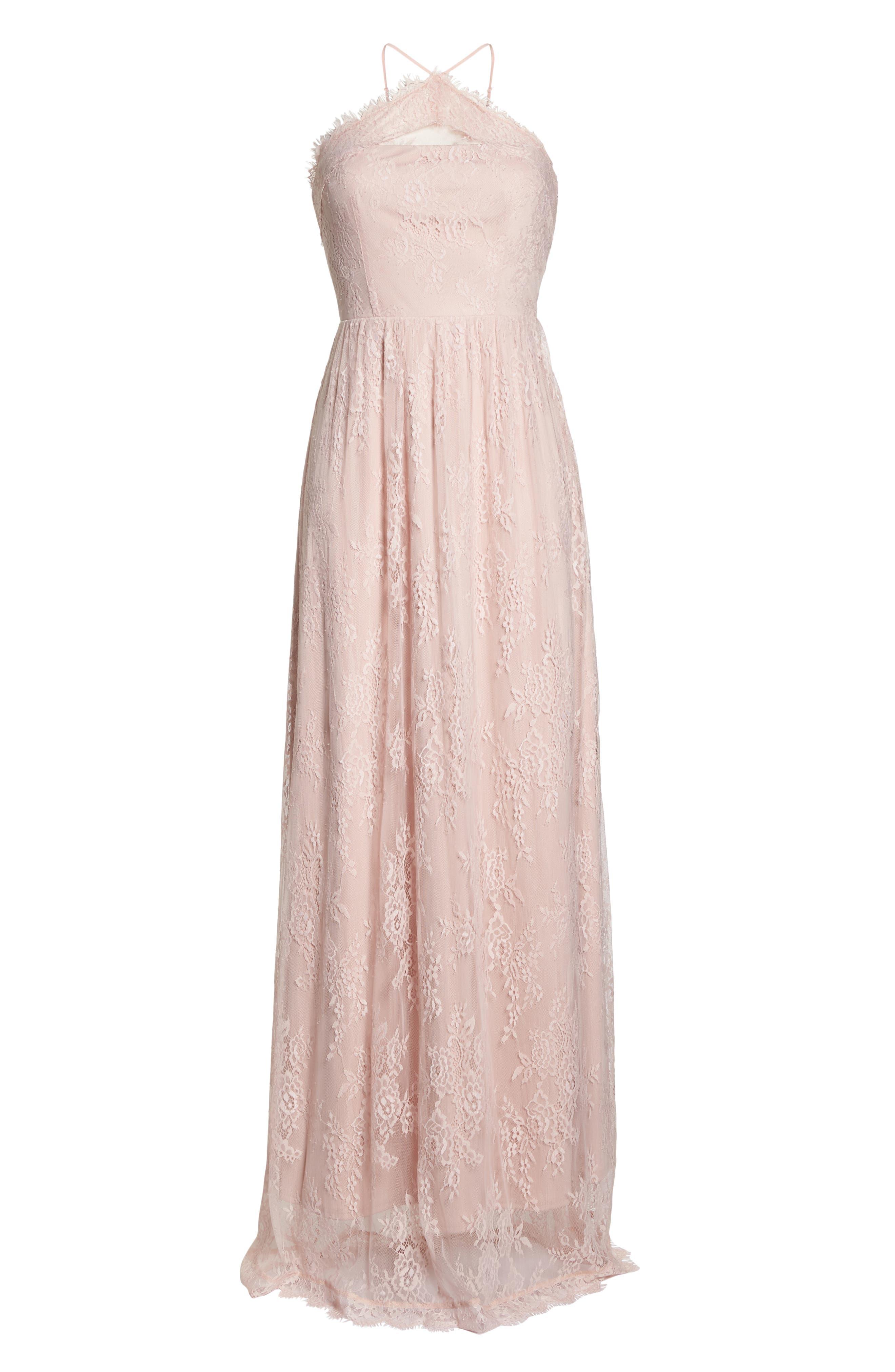 Eloise Halter Neck Lace Gown,                             Alternate thumbnail 6, color,                             Rose Quartz